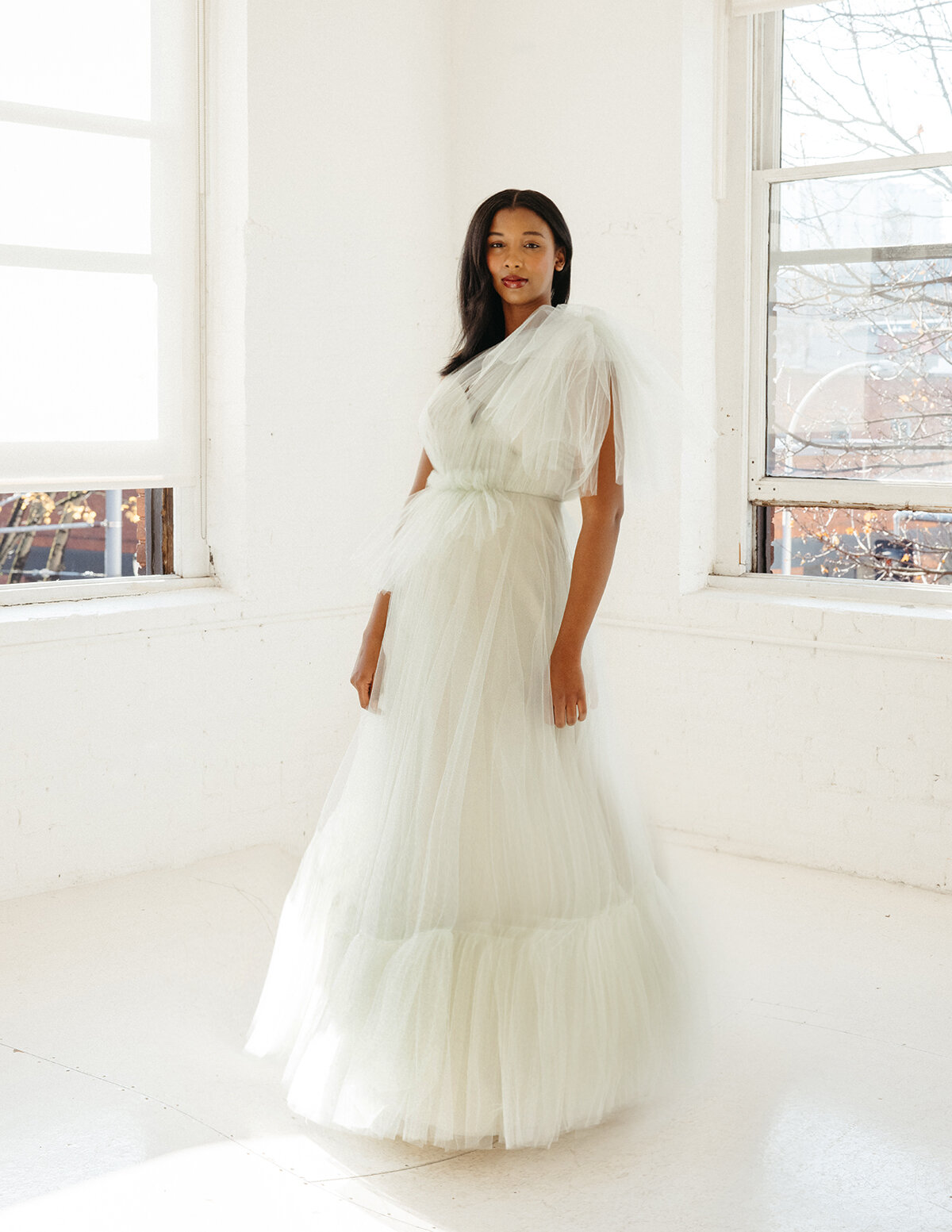 elizabeth dye tulle wedding dress