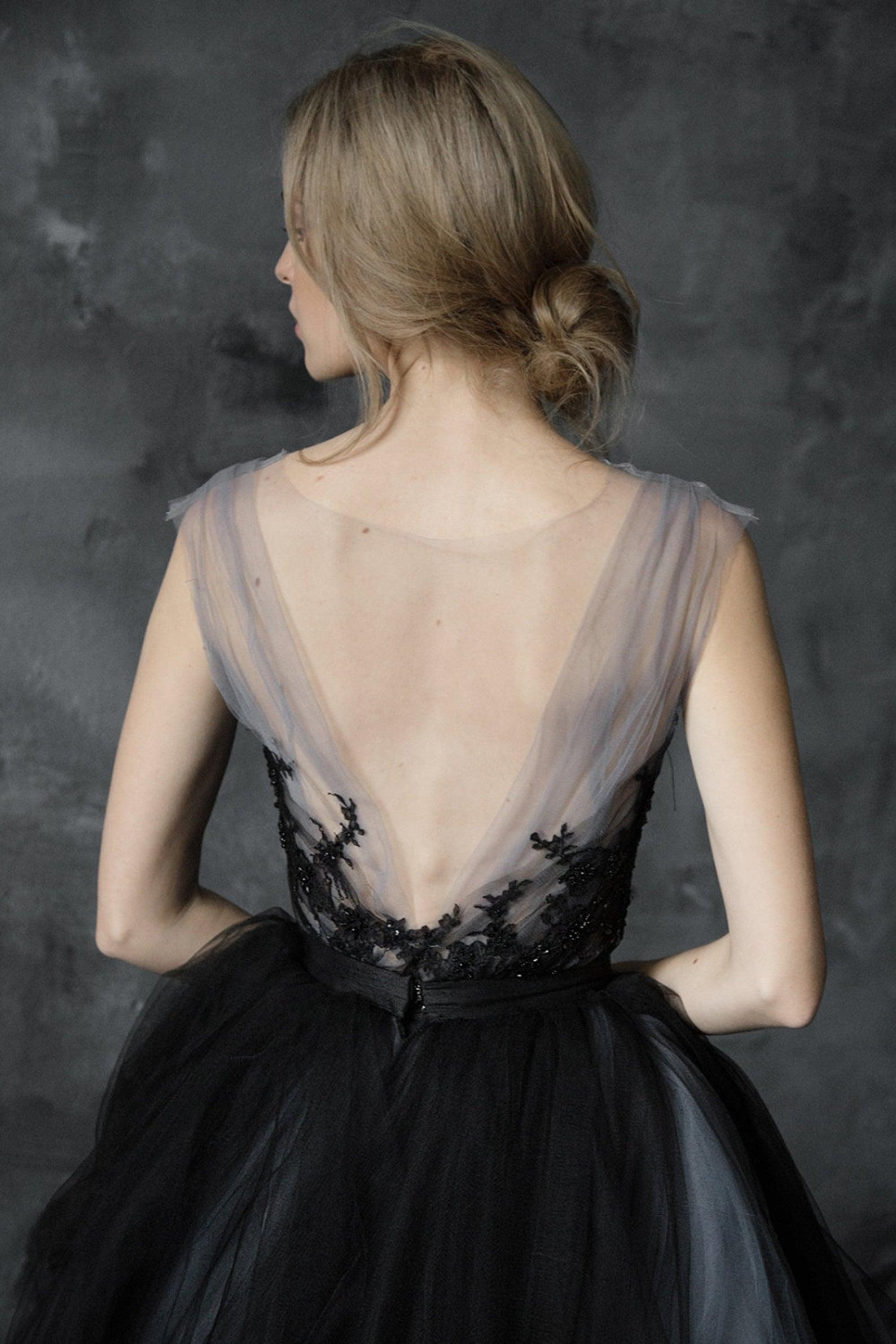 etsy black wedding dress