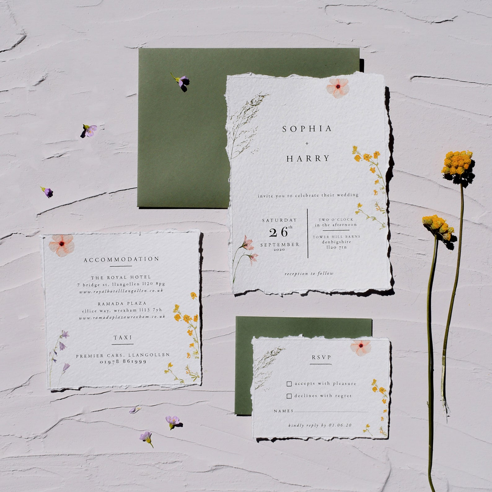 pressed flower wedding