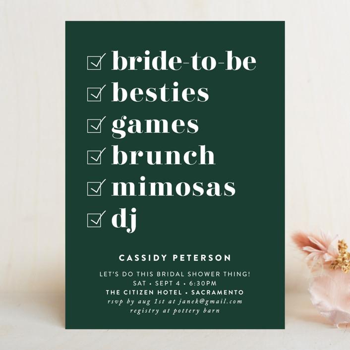 bold type bridal shower invitation