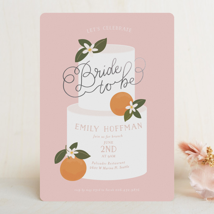 clementine and cake bridal shower invitation