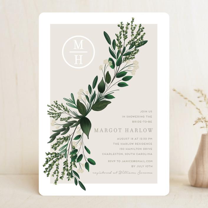 modern bridal shower invitation with greenery