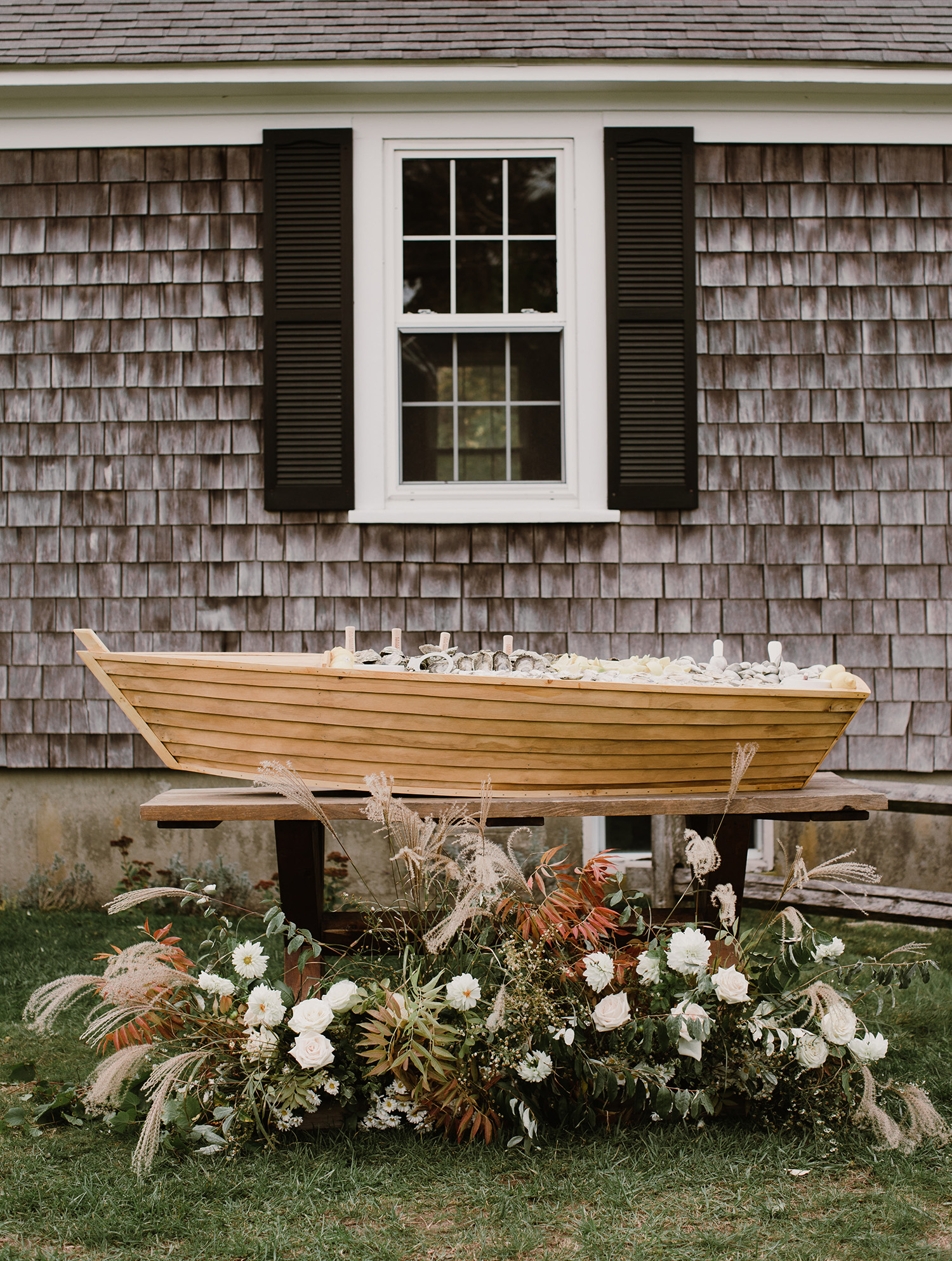 Oyster Bar in a rowboat at a Wedding
