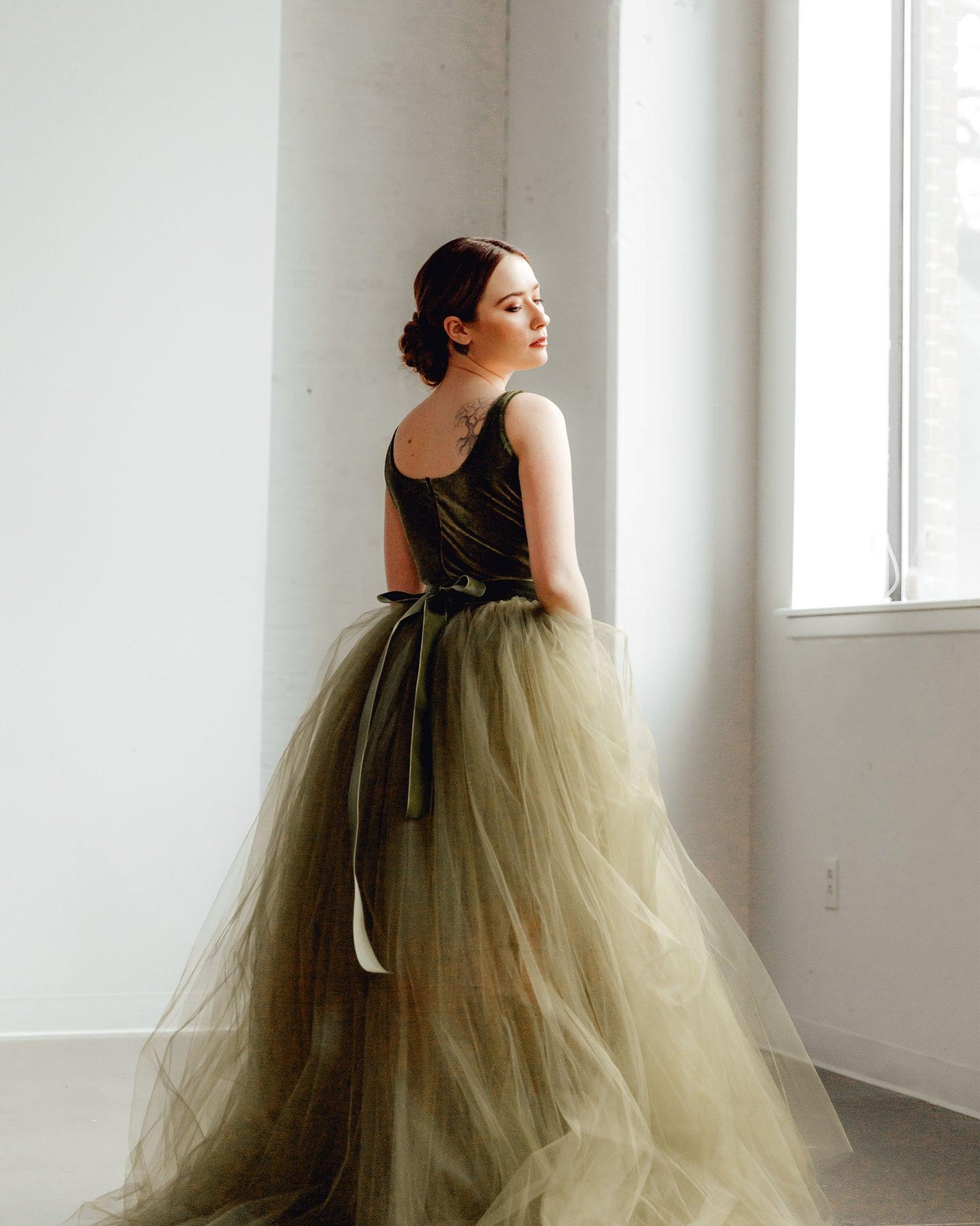 sweet caroline styles green wedding dress