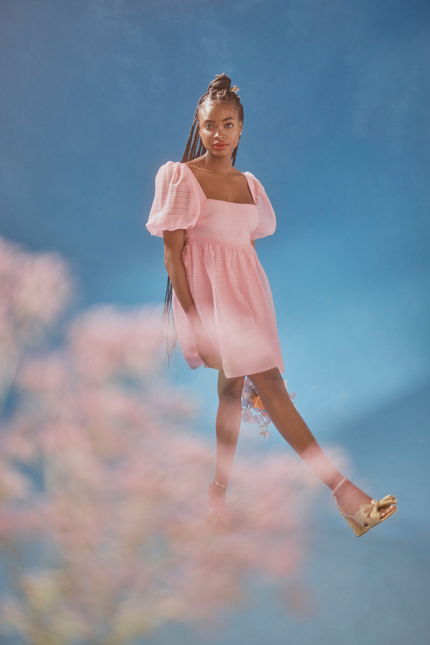 short pink bridesmaids dress with puff sleeves