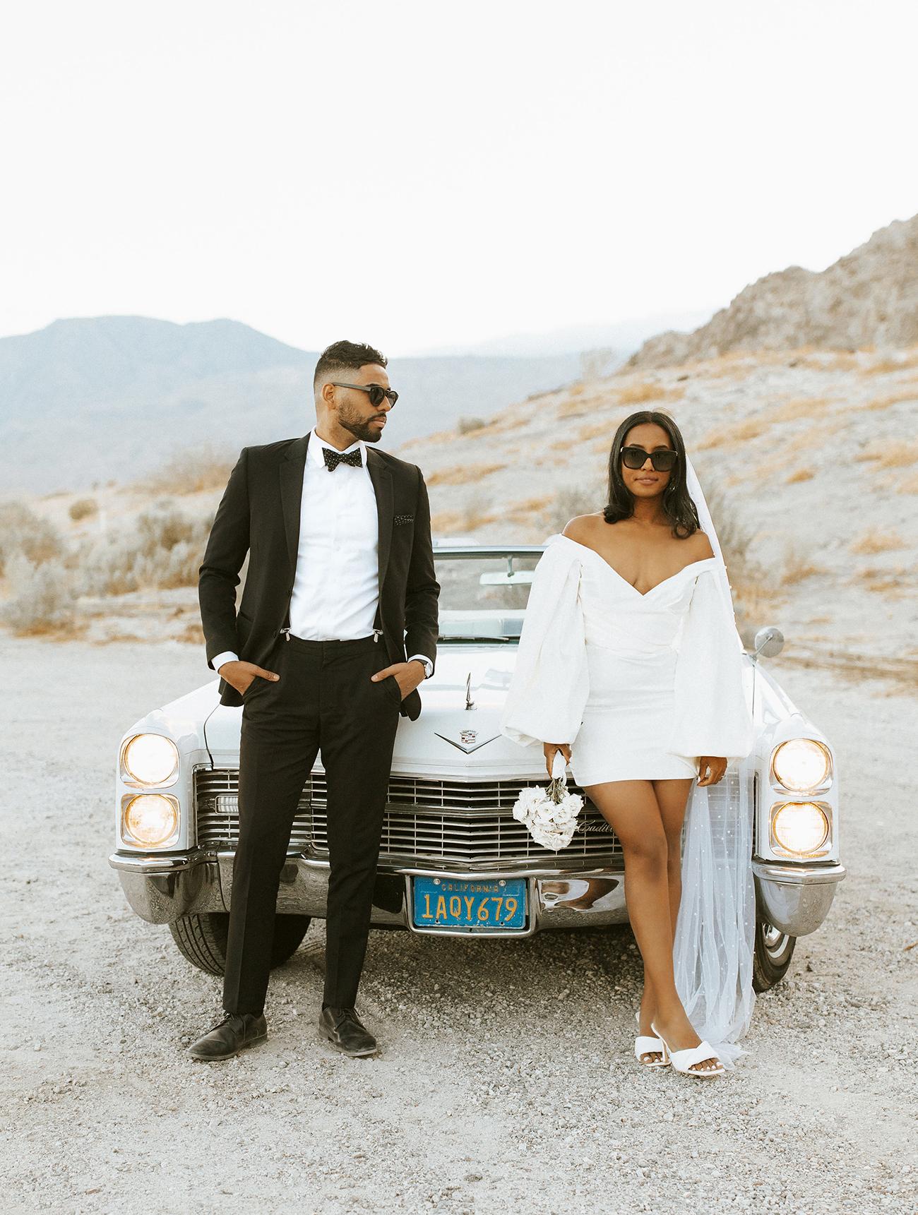 Palm Springs Desert Elopement Classic Car
