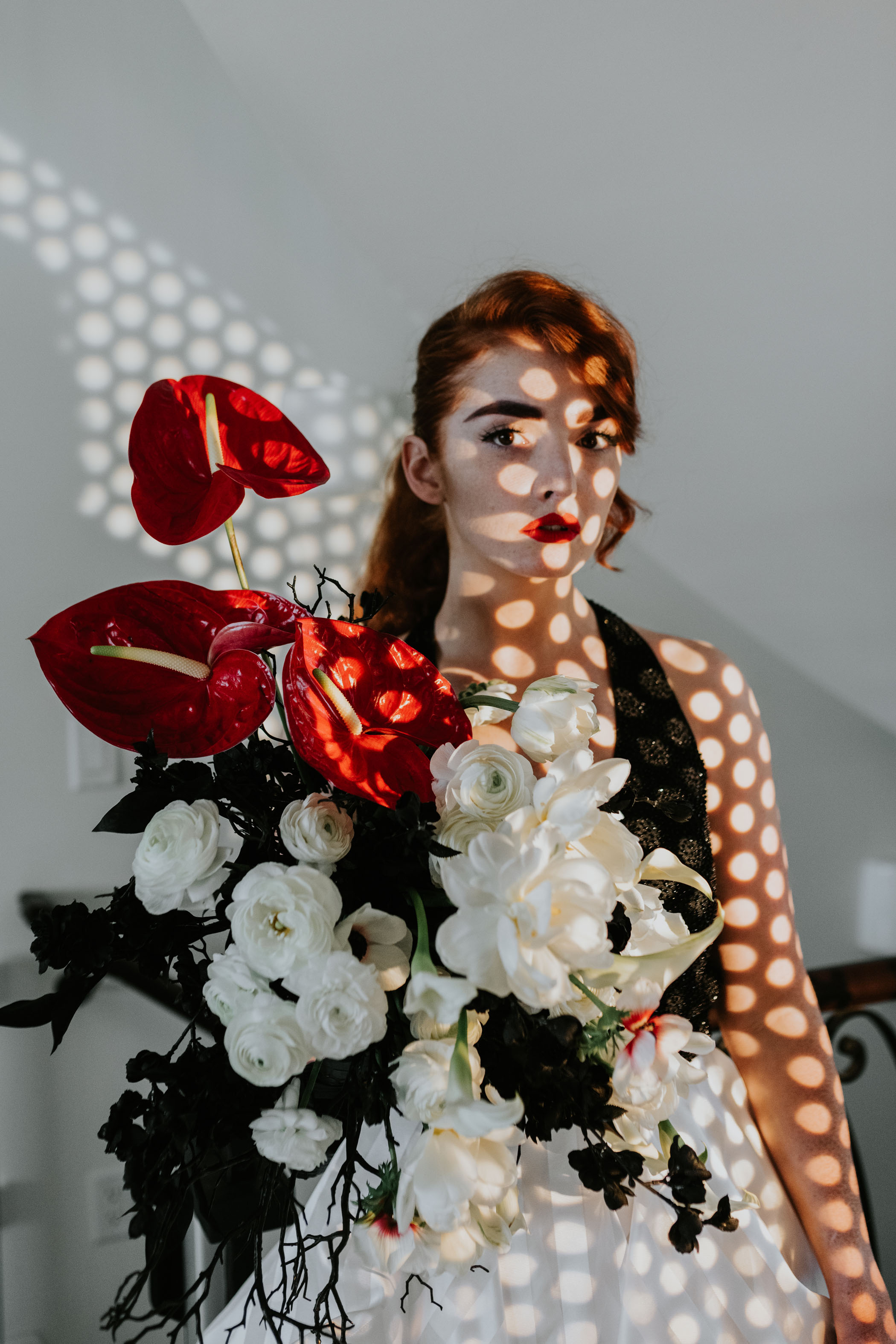 Black White and Red Bouquet