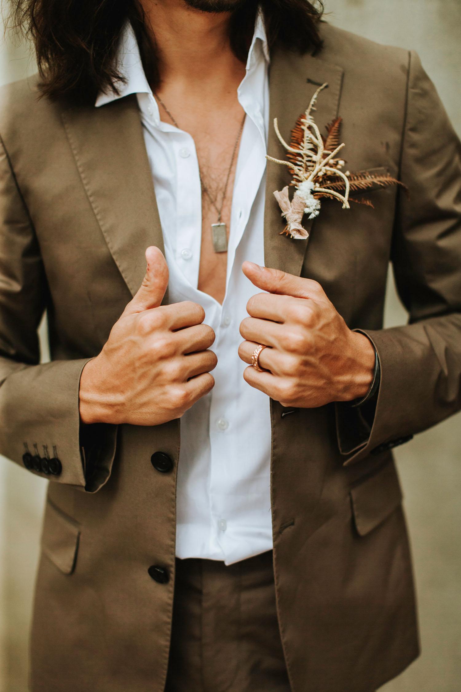 brown groom suit