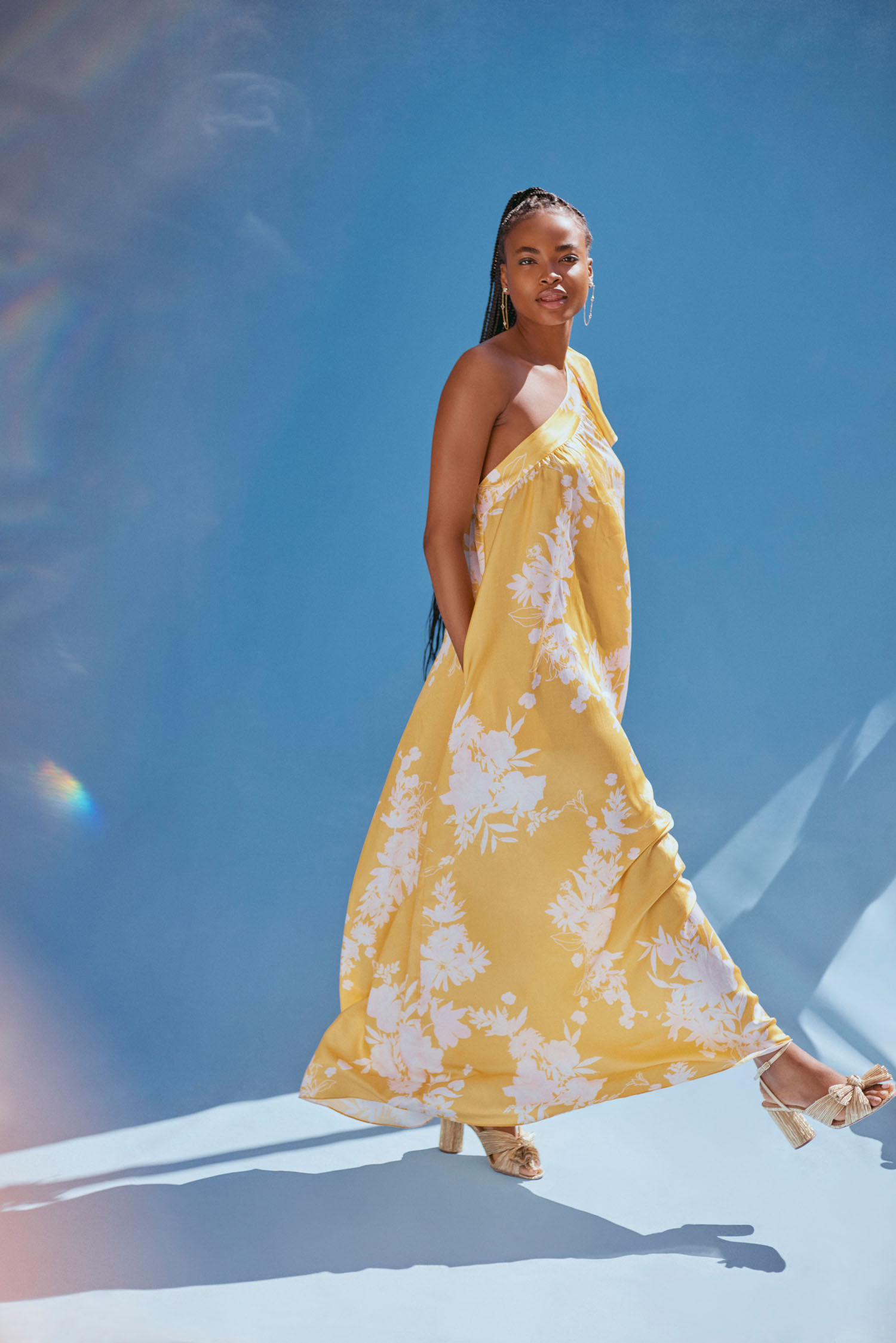 BHLDN x Free People yellow and white dress