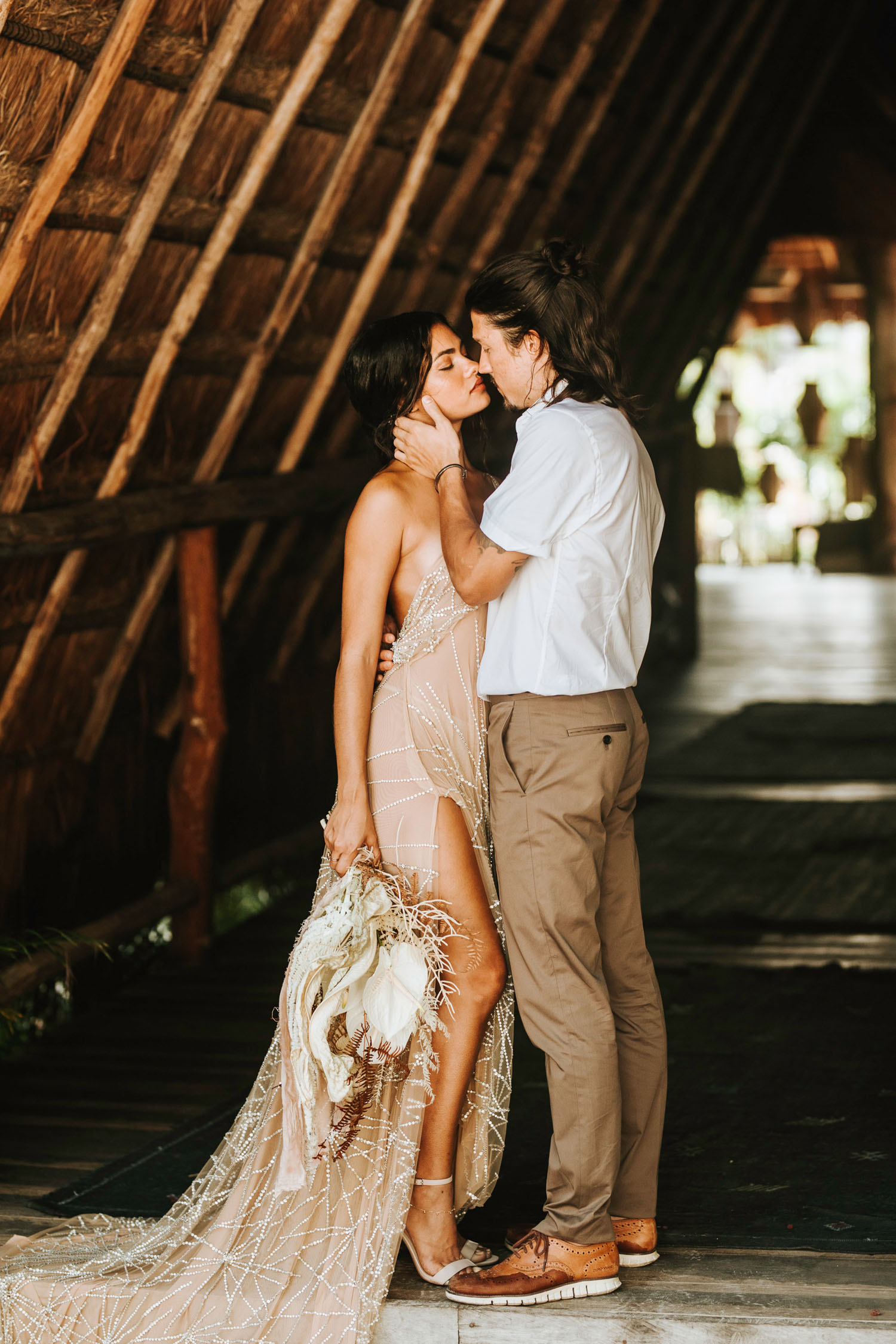 bride and groom in Tulum