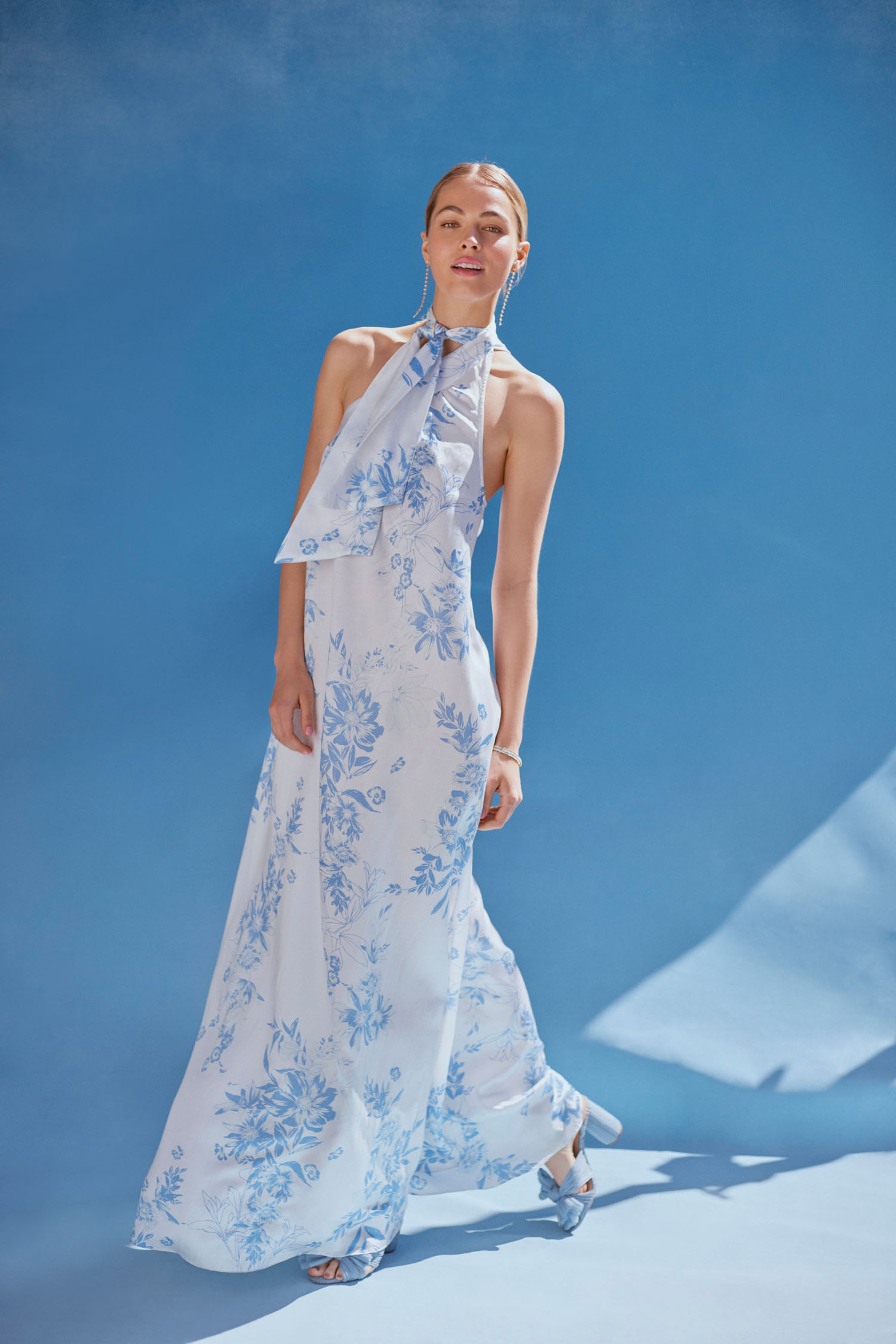 BHLDN x Free People Capsule Collection blue floral dress