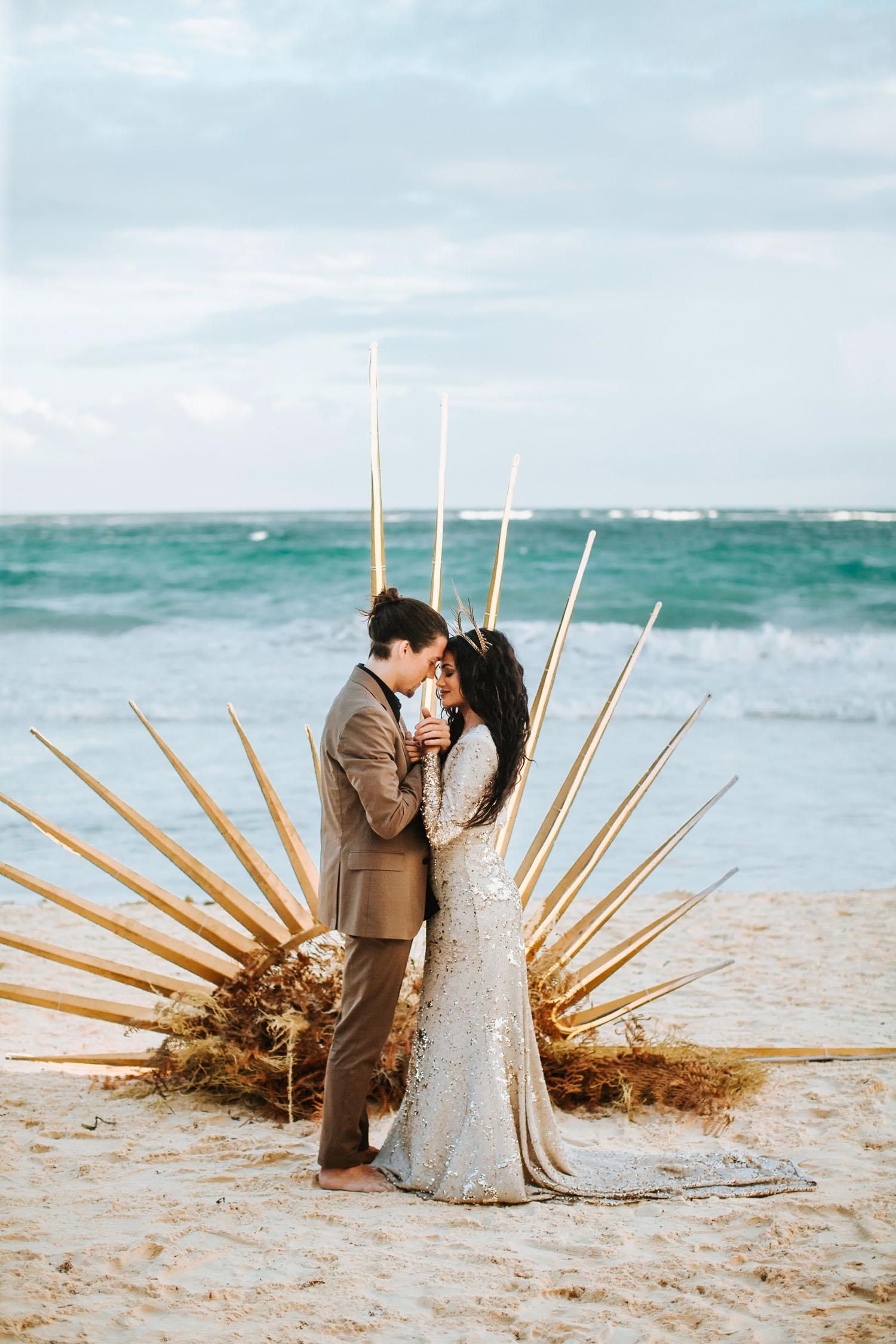 celestial wedding on the beach