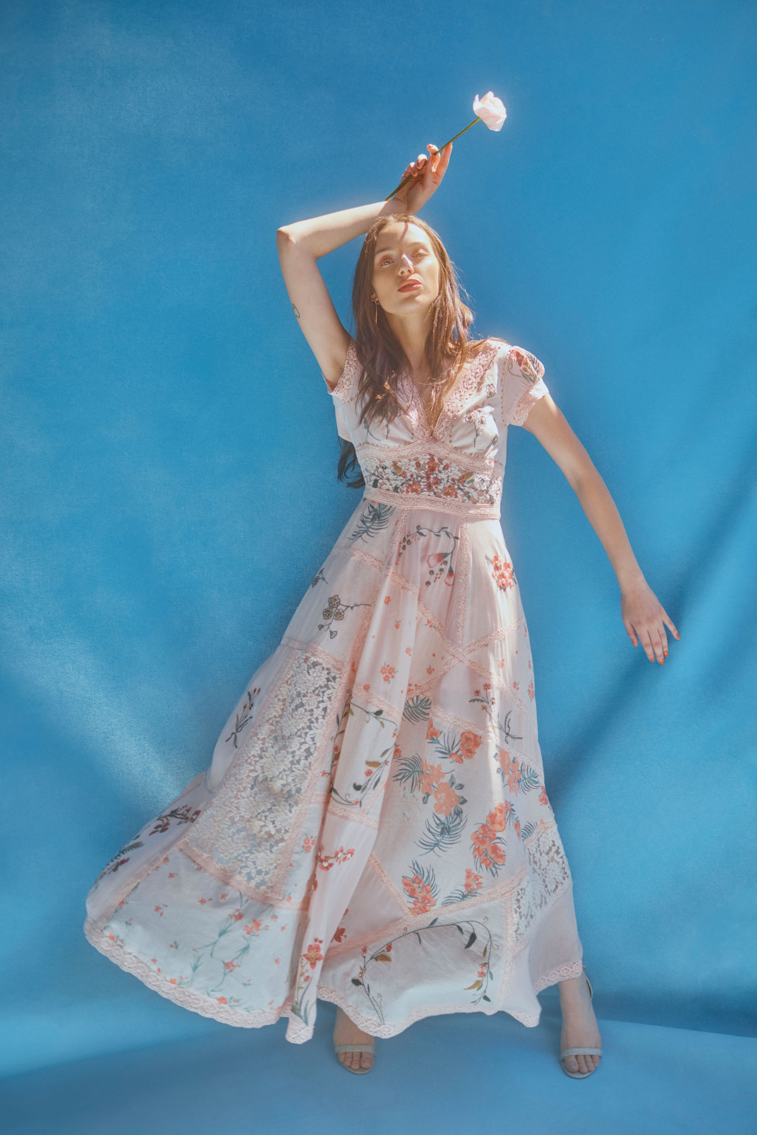 BHLDN x Free People pink floral bridesmaids dress