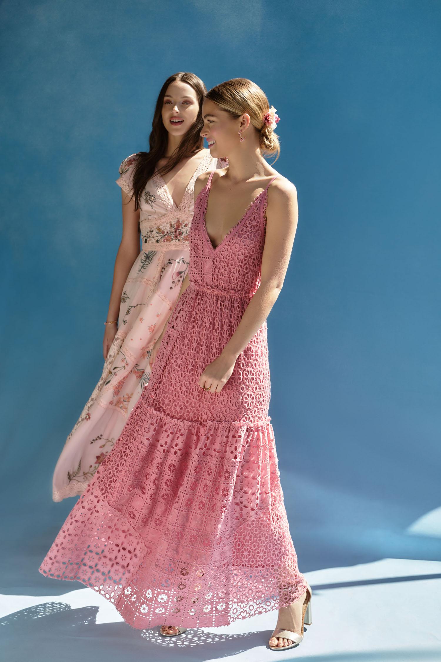 pink and floral print bridesmaids dresses