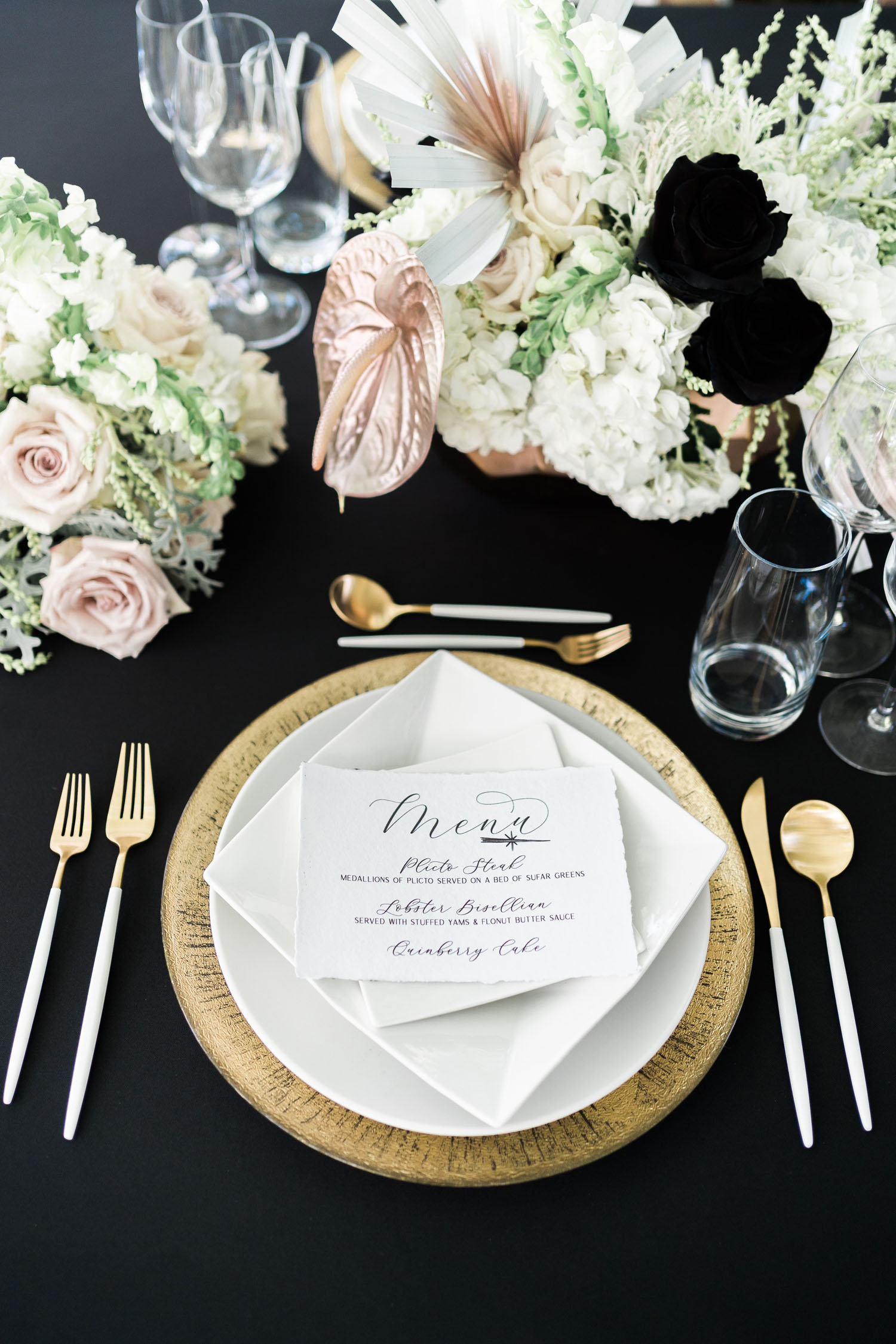 black and white wedding tablescape