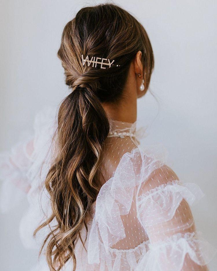 cute bridal ponytail hairstyle
