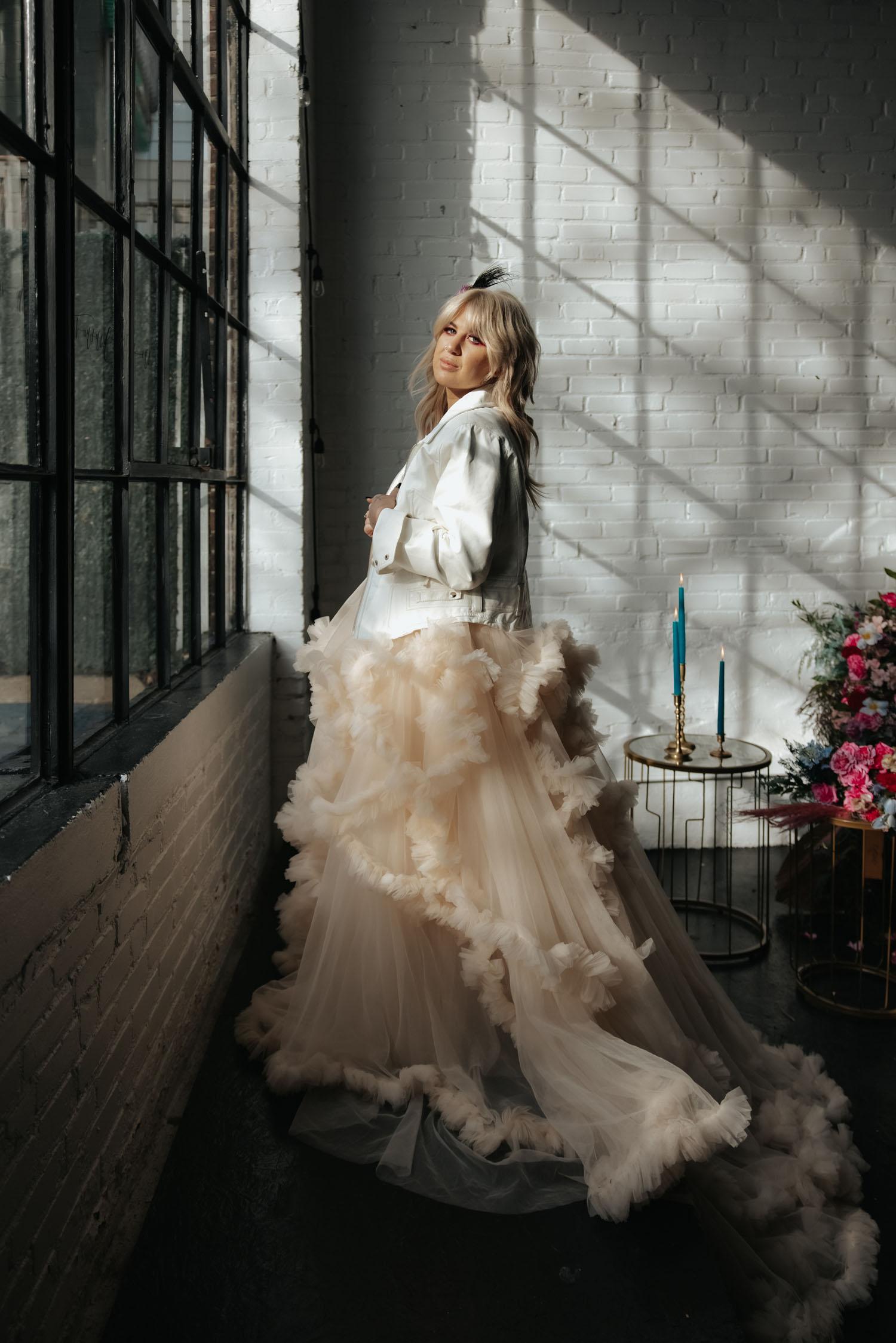 White Leather Jacket Bride