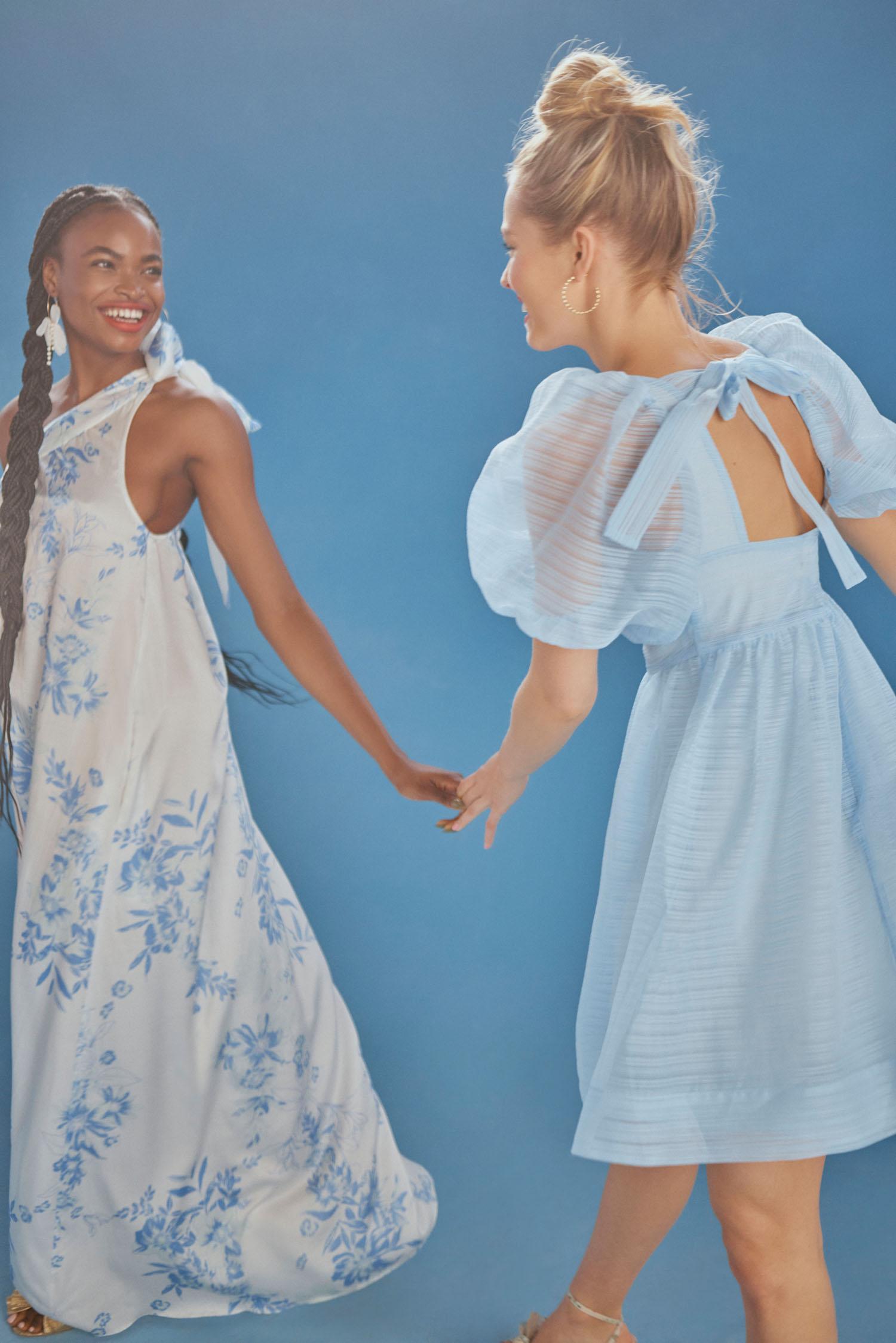 blue mix and match bridesmaids dresses