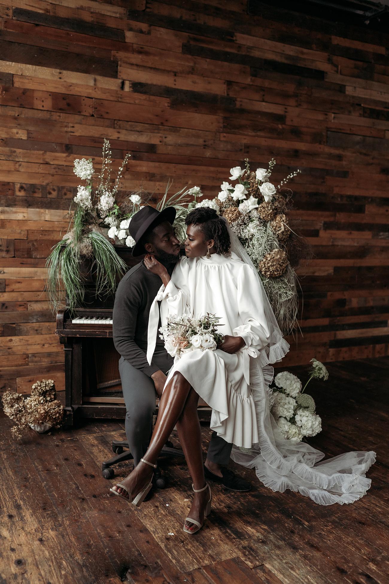 Short Wedding Dress with a Long Veil