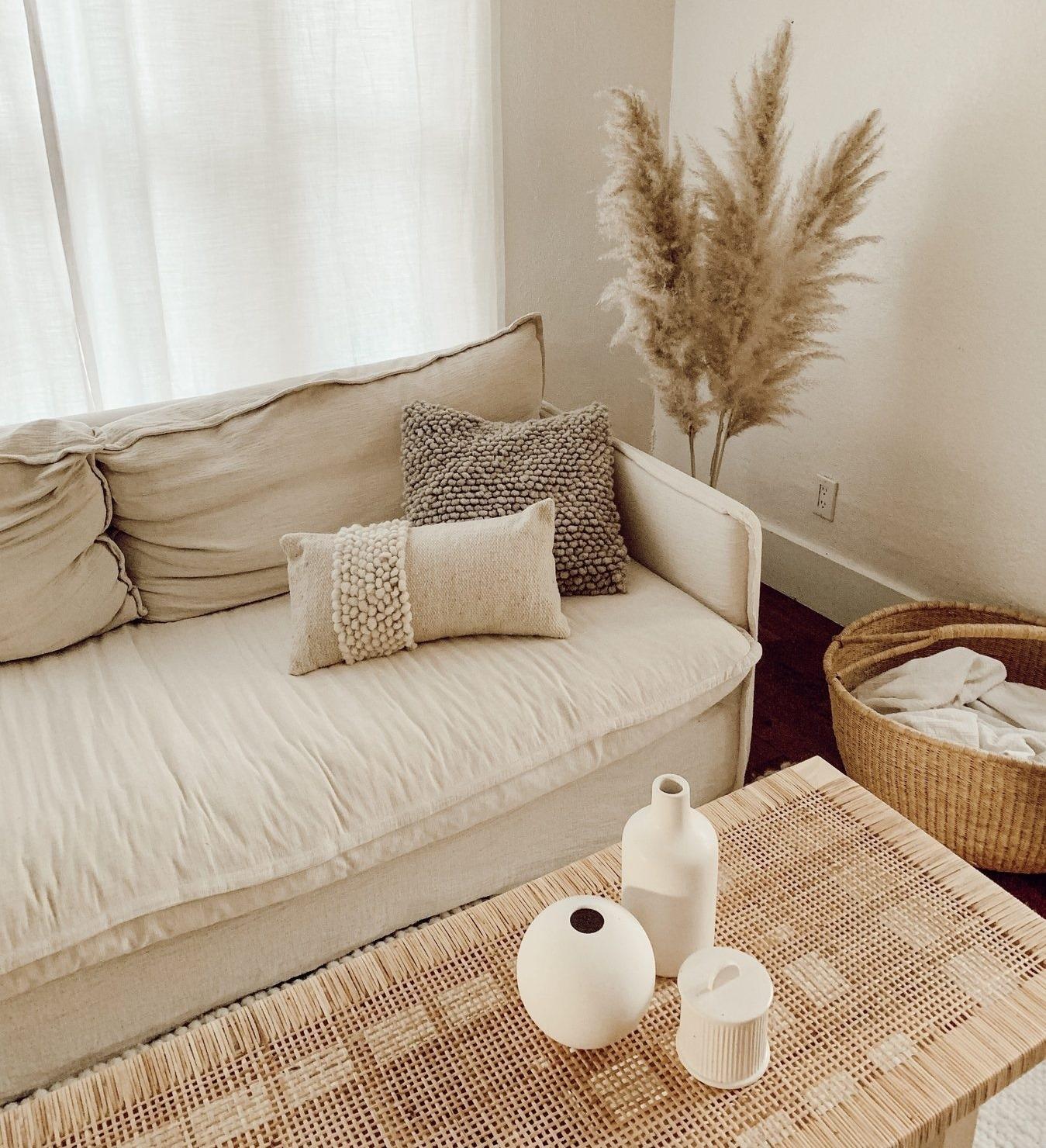 tan couch boho room