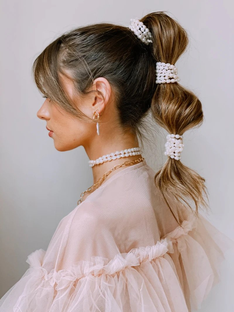 bridal hairstyles- pearl studded ponytail