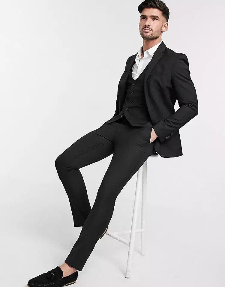 classic black groom suit