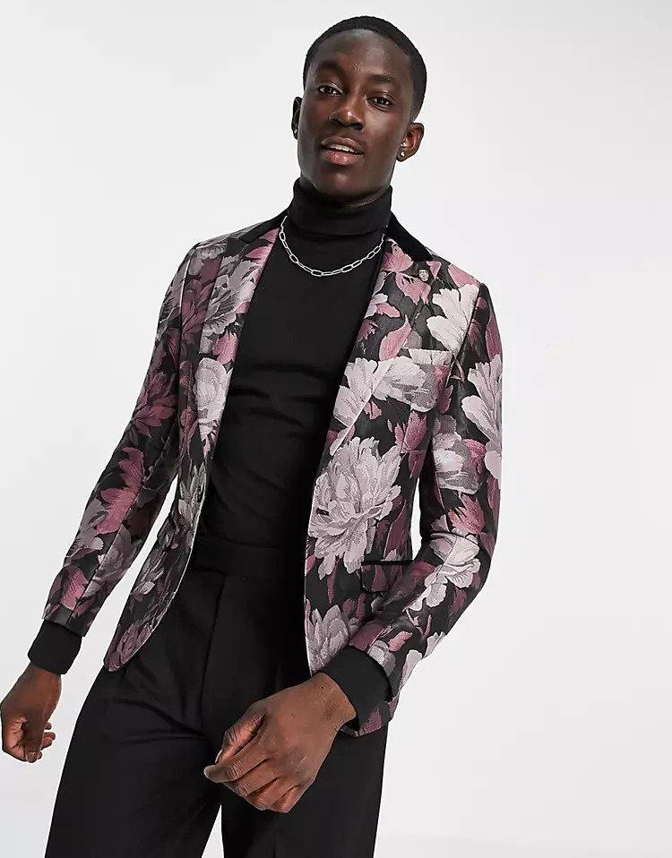 floral suit jacket for groom