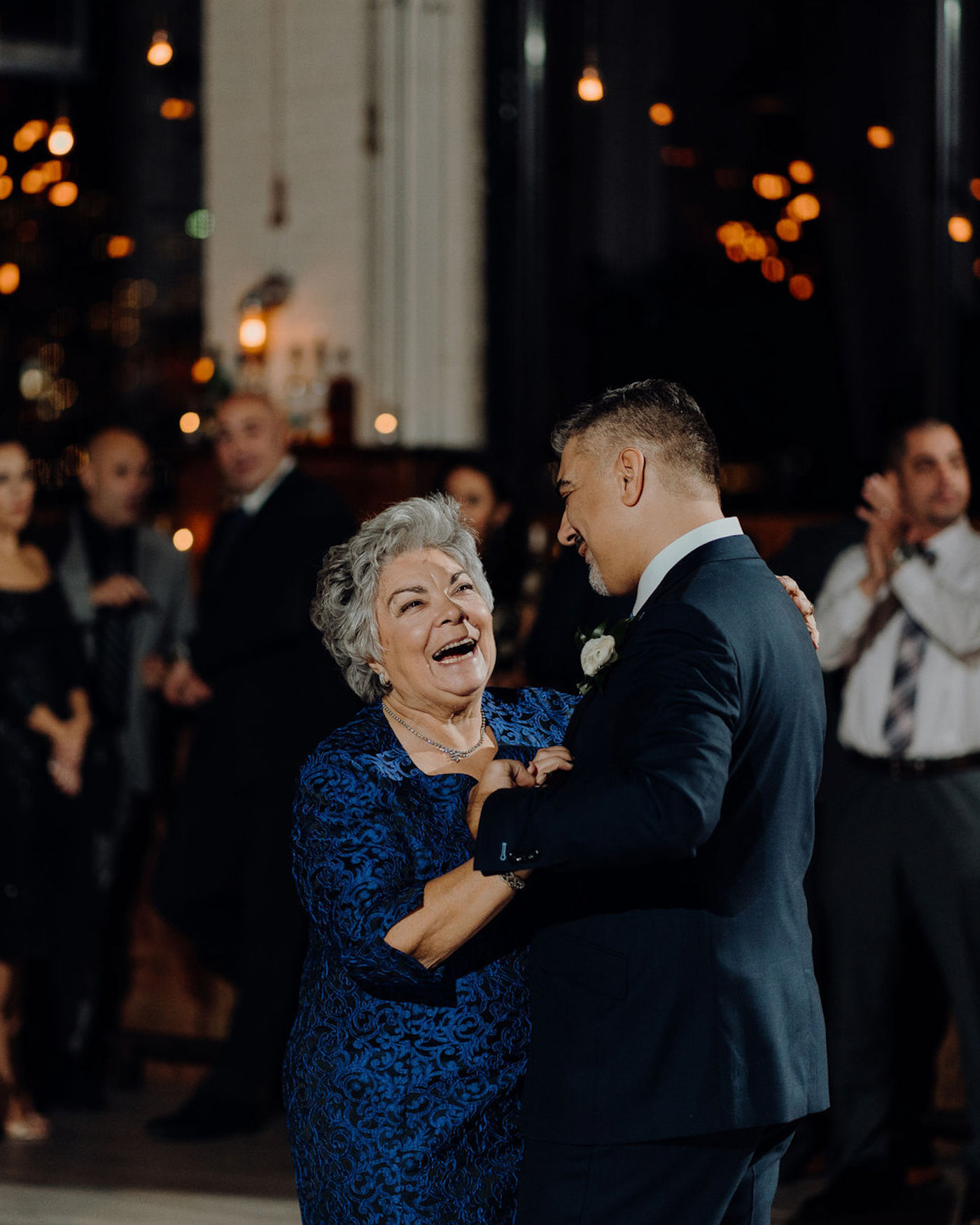 mother son wedding dance smiling