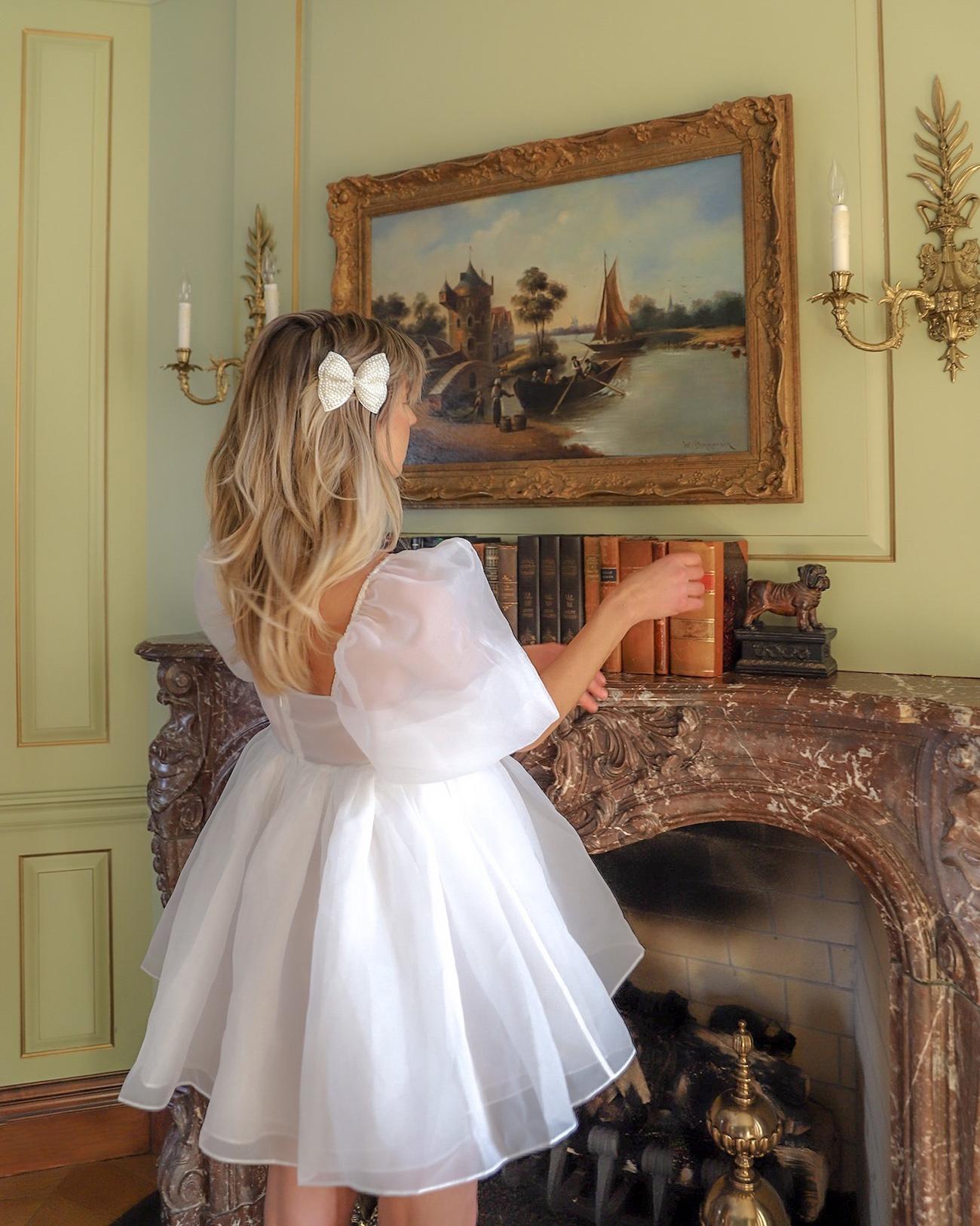 selkie puff sleeve mini white dress