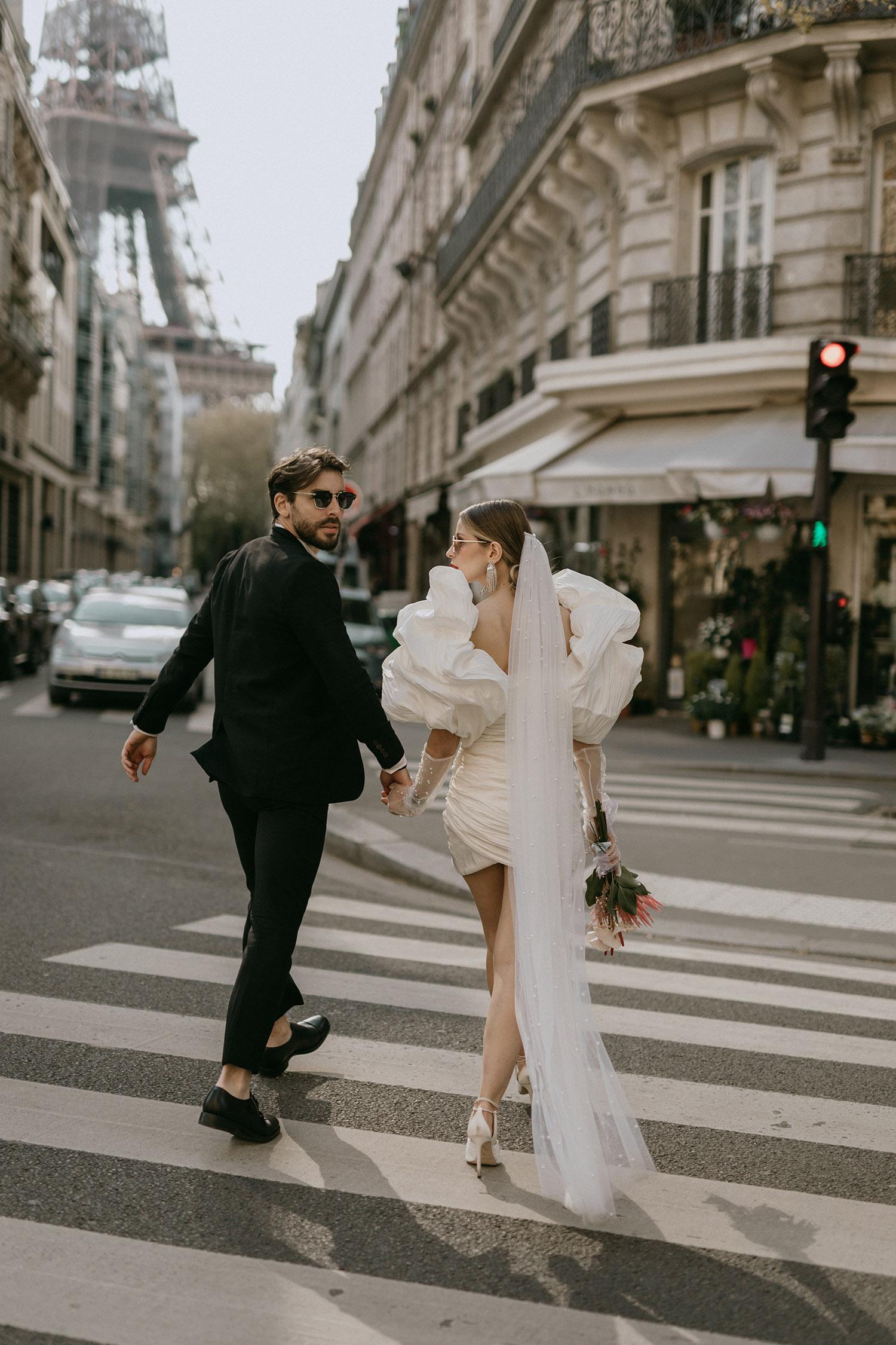 short wedding dress long veil for paris elopement