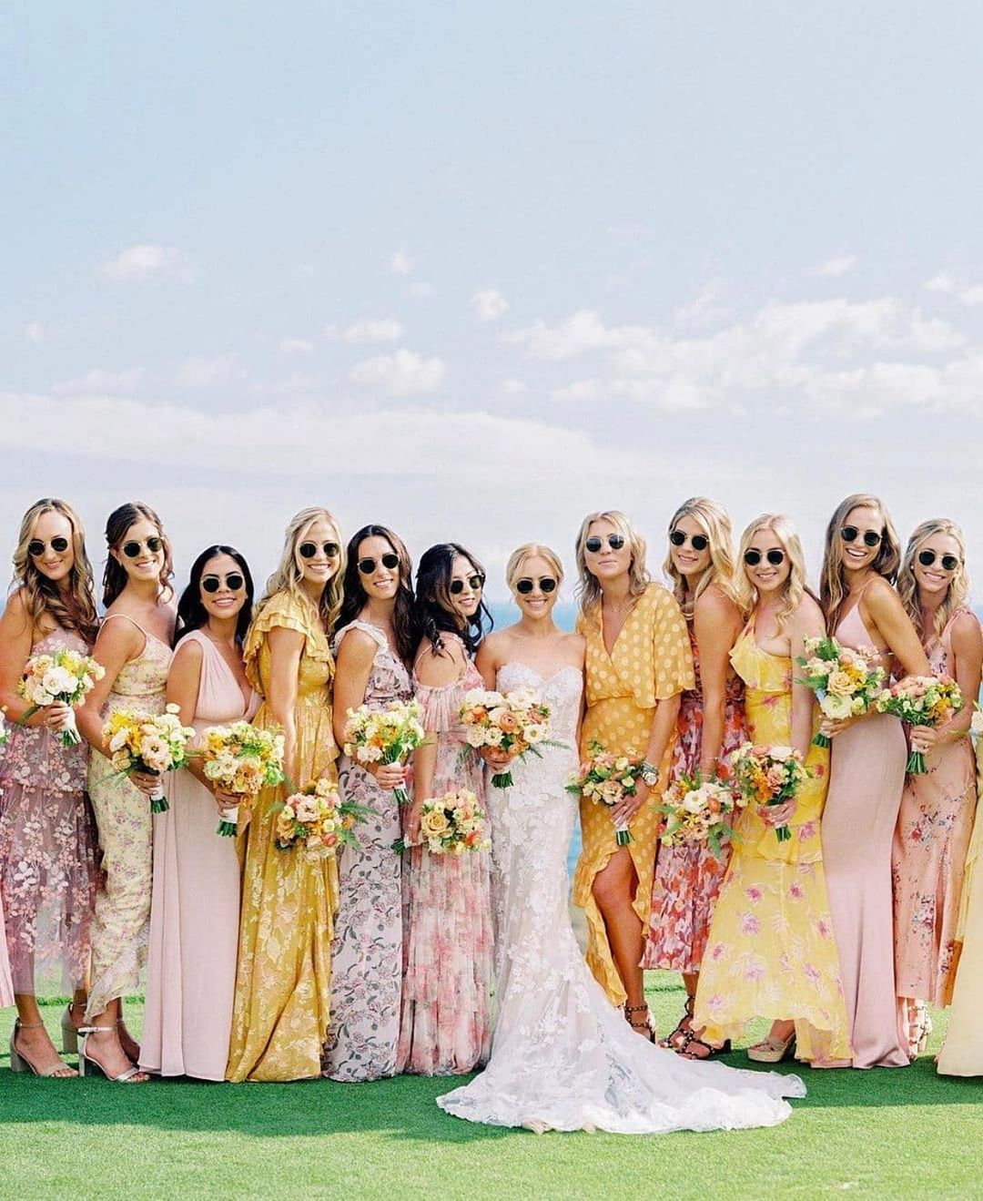 mismatched bridesmaids in sunglasses