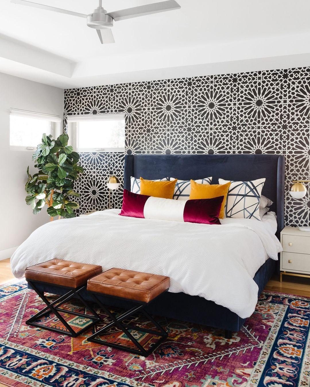 graphic wallpaper modern bedroom