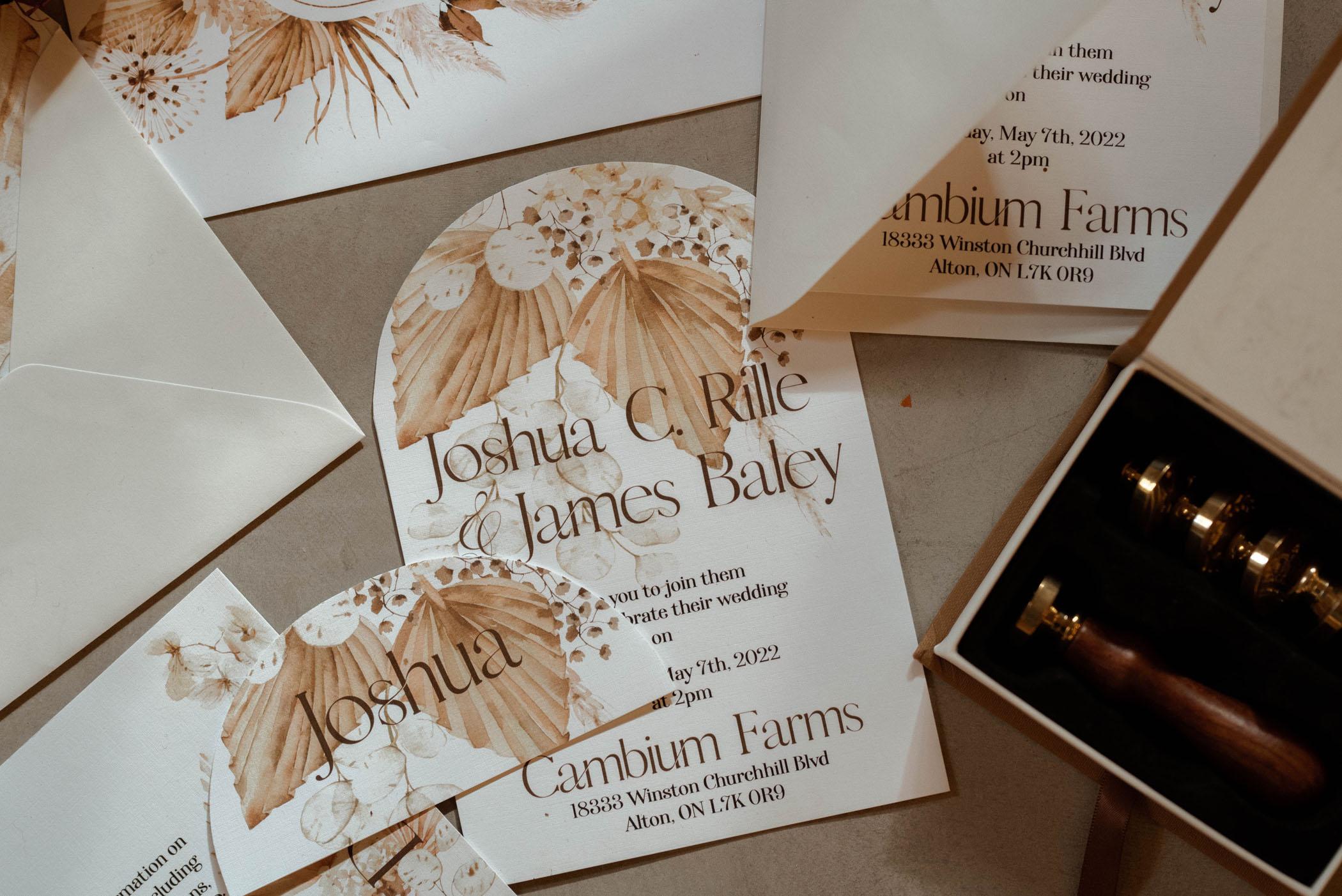 boho dried palm wedding invitation