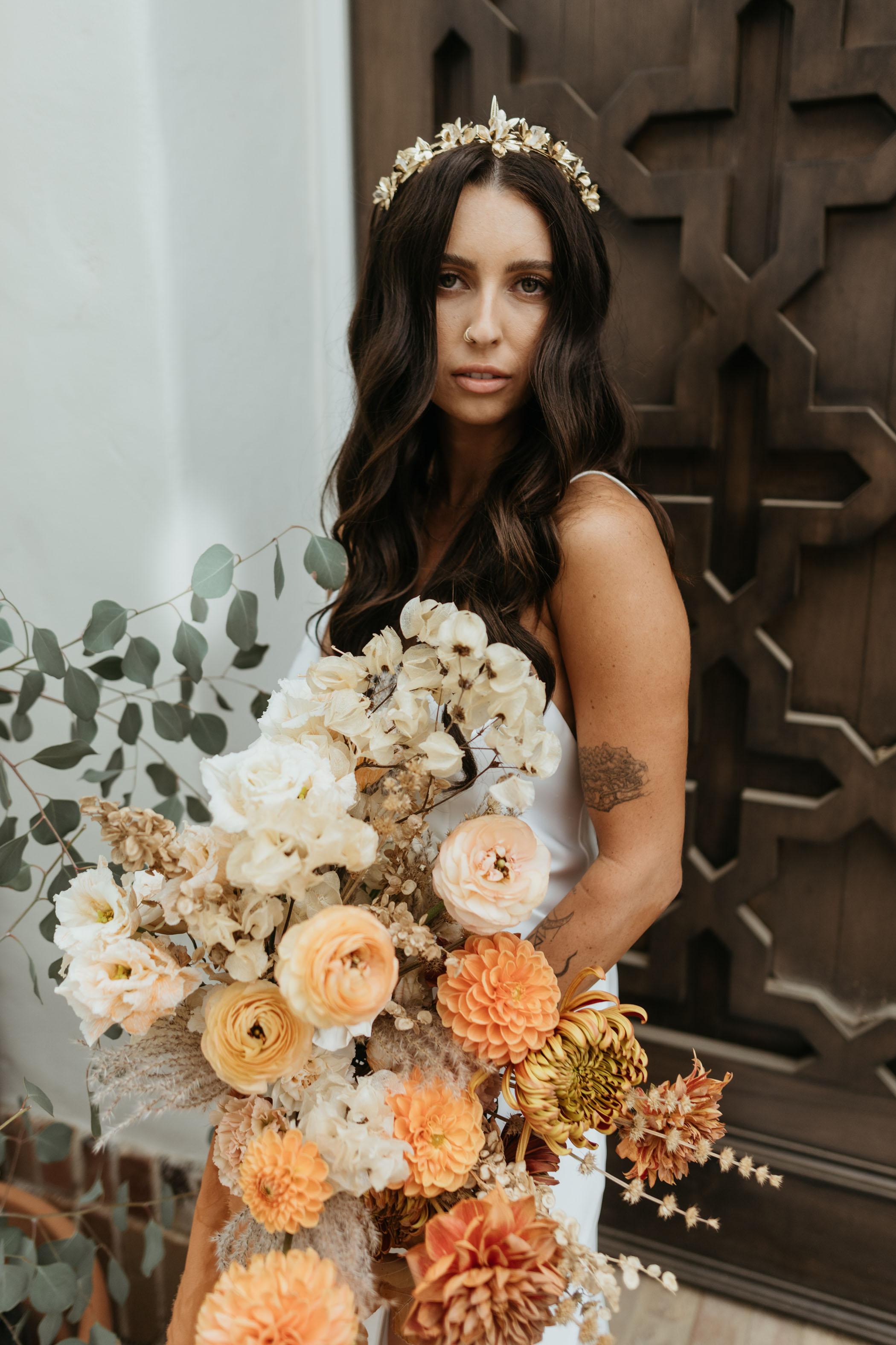 boho peach wedding bouquet