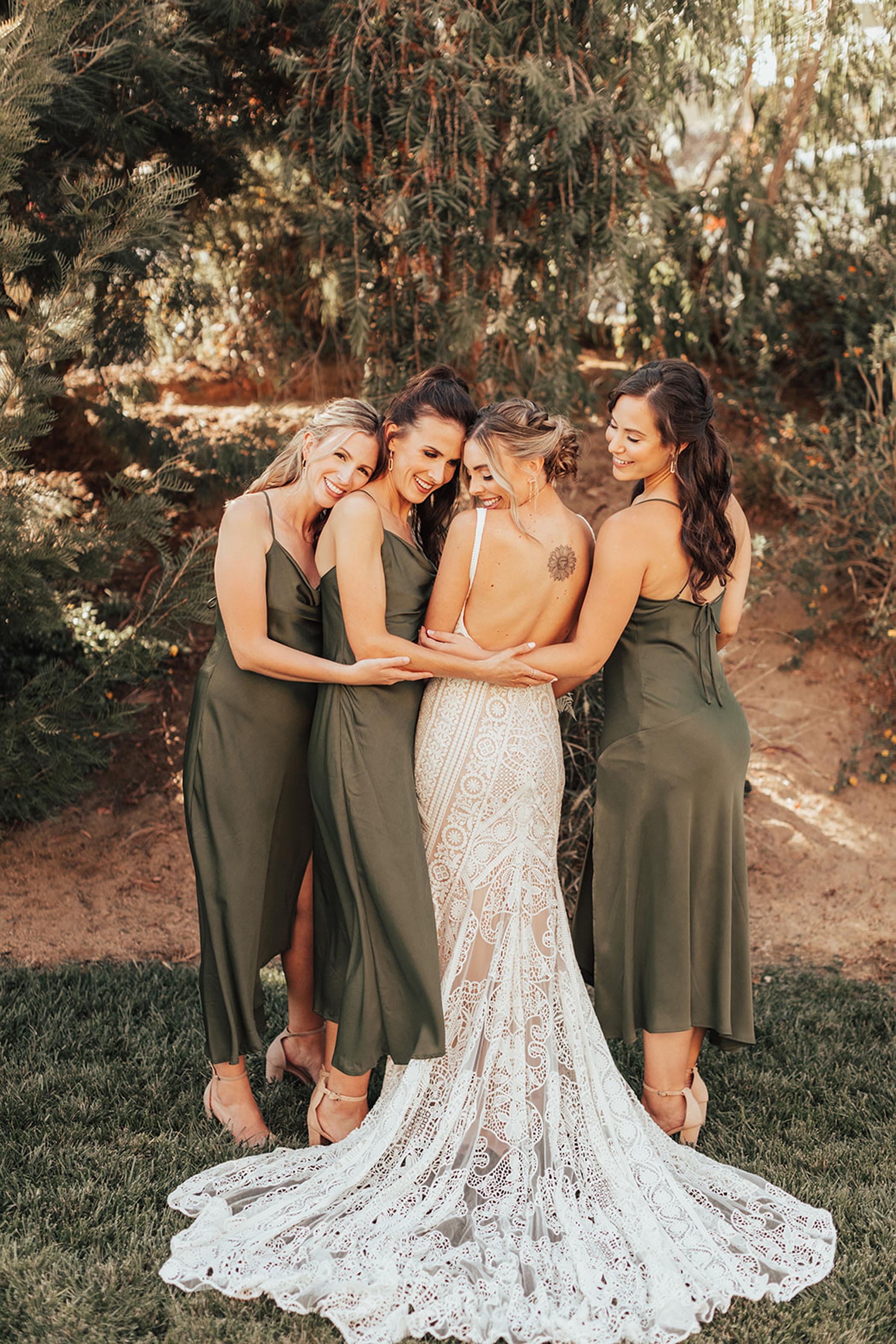 satin bridesmaids