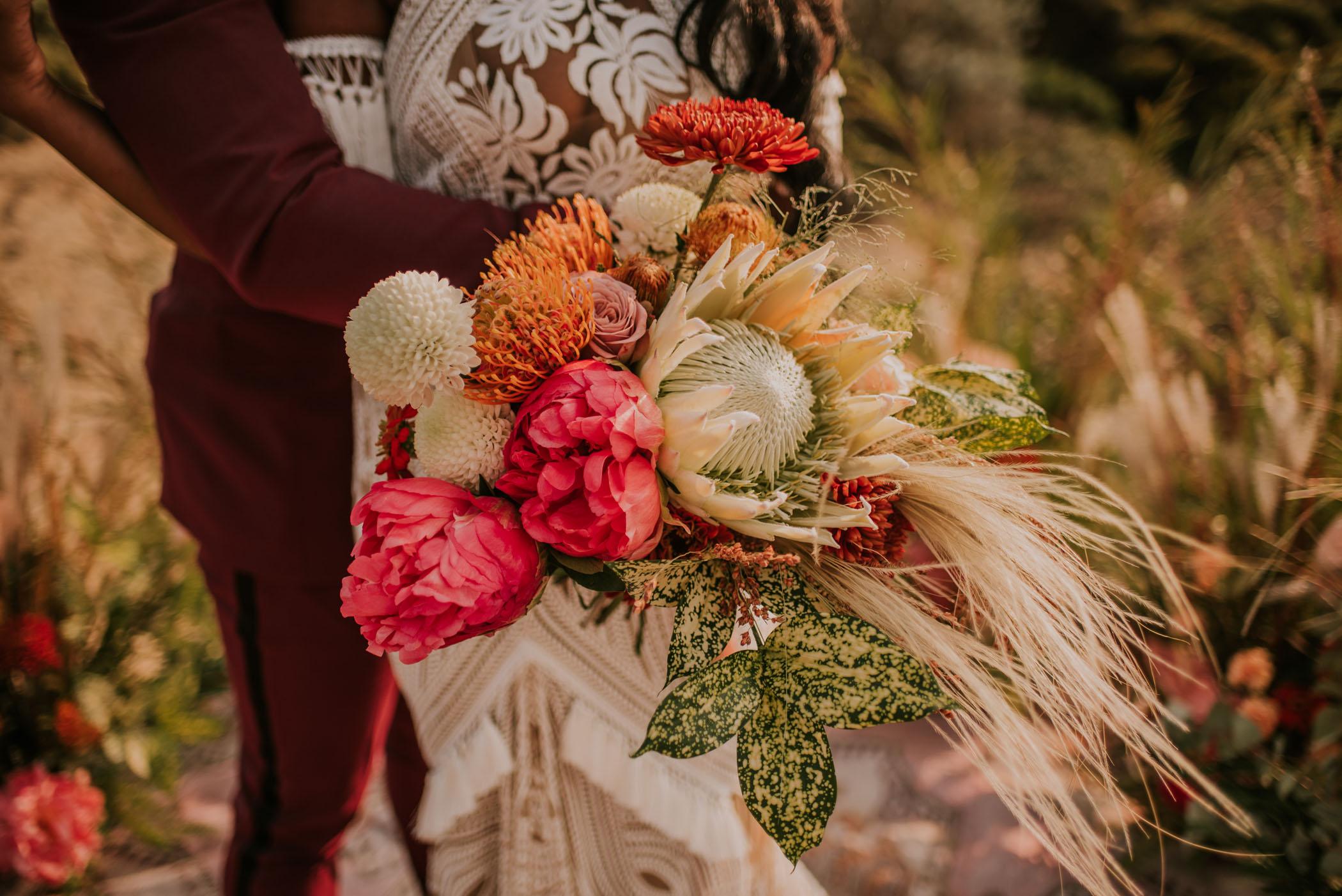 king protea boho bridal bouquet