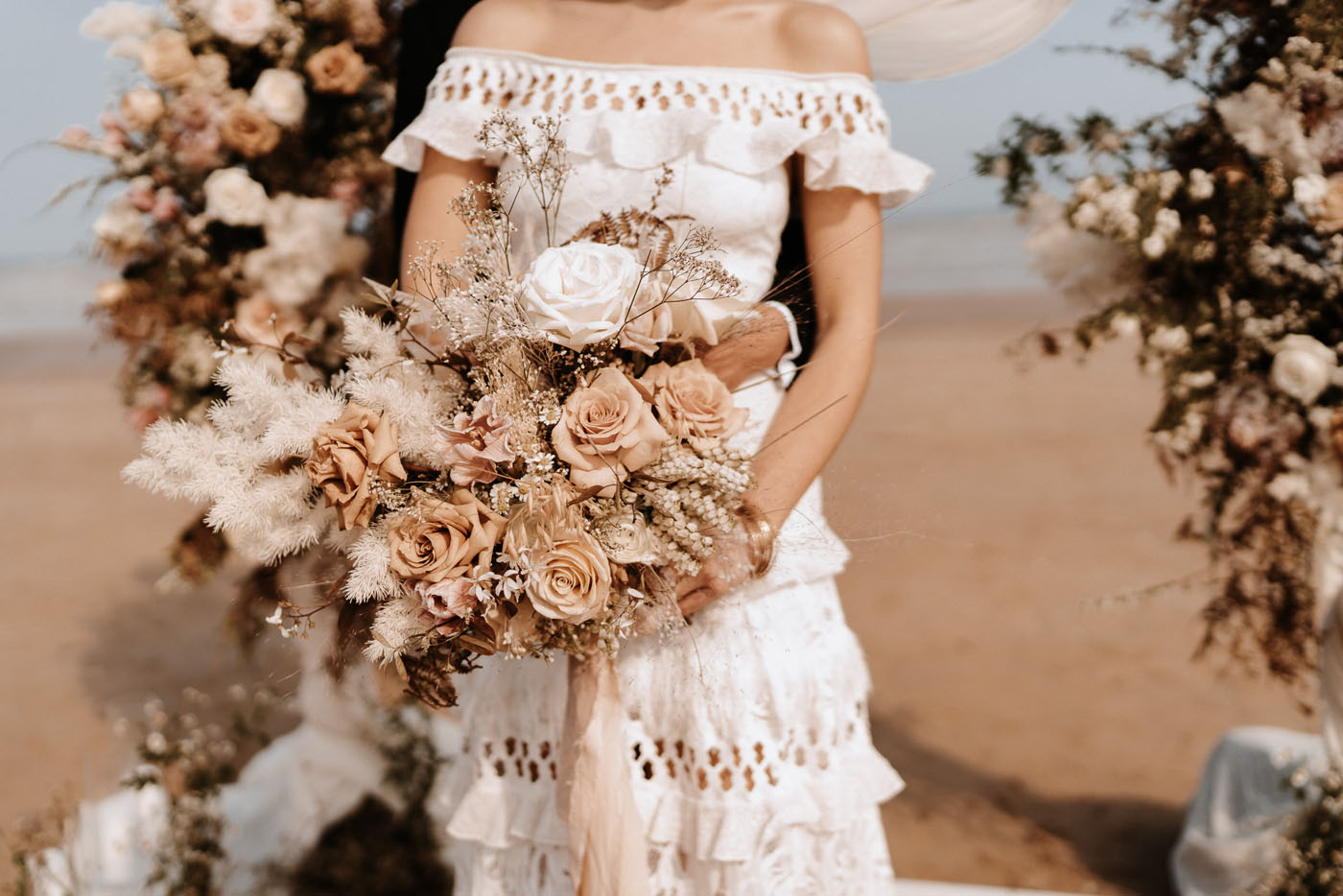ruffle boho wedding dress