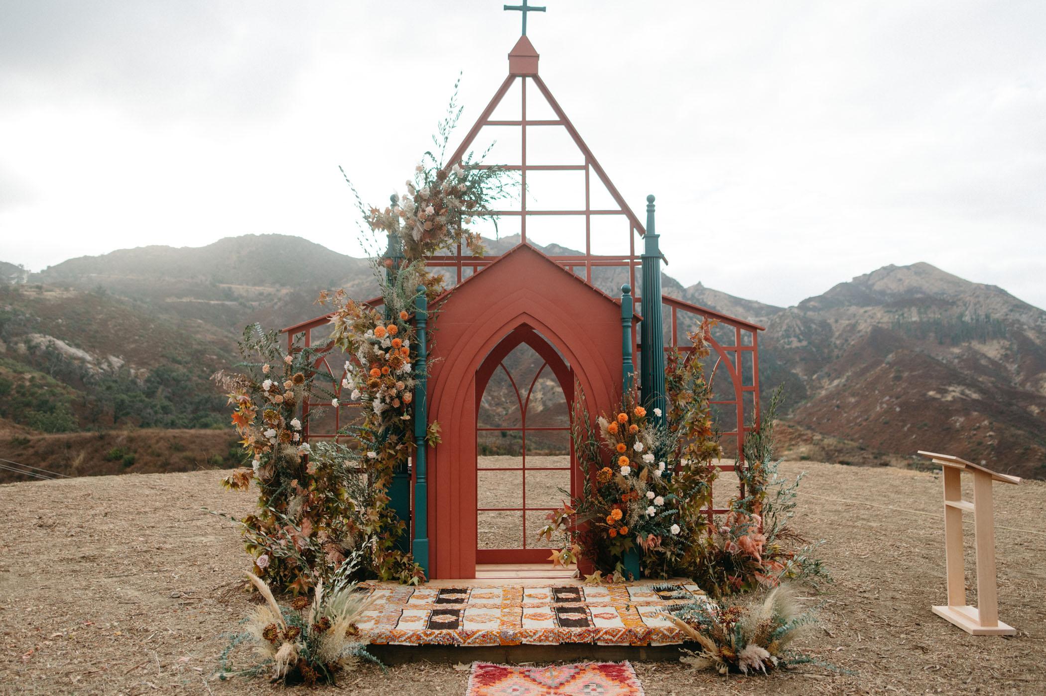 outdoor wedding backdrop steel chapel