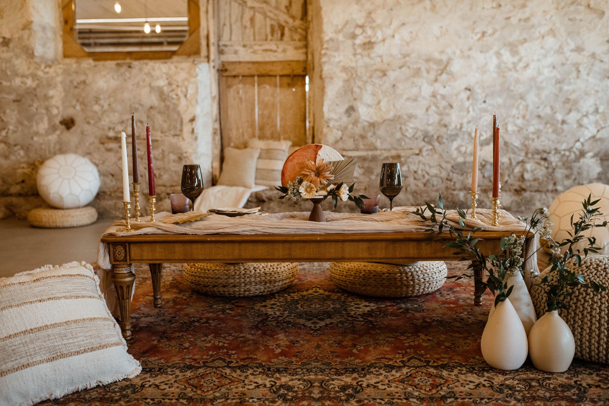 low-seated boho wedding reception table