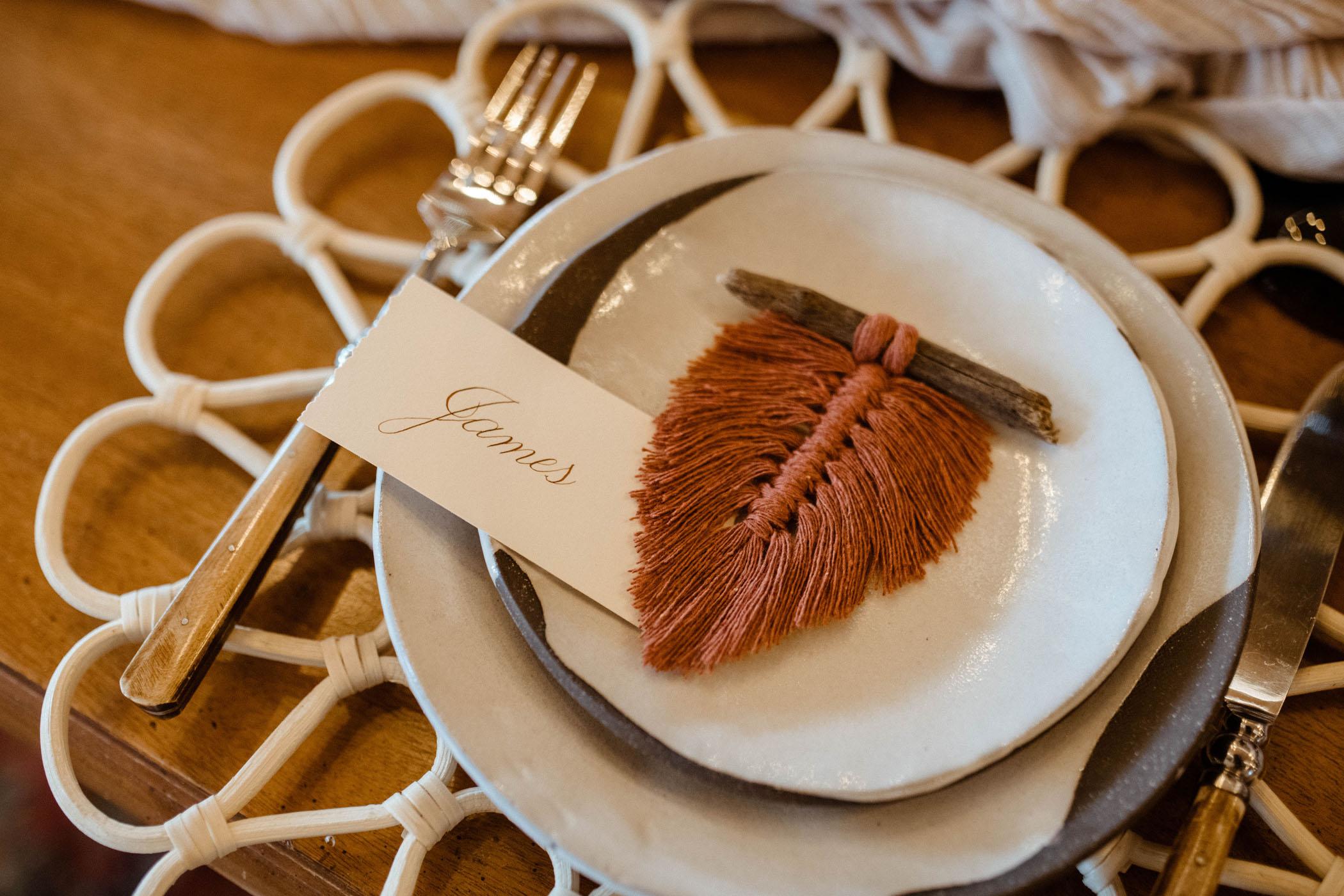 leaf tassel place card