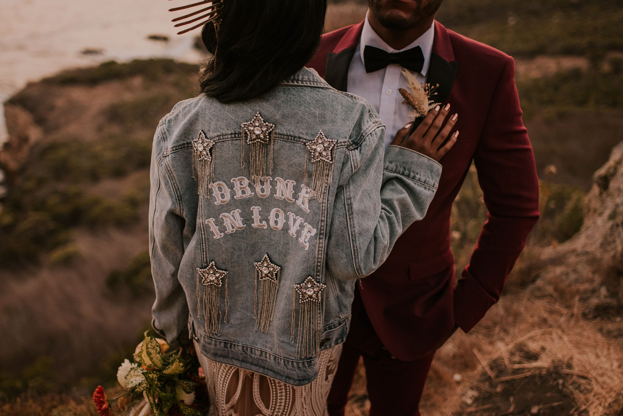 drunk in love bridal jean jacket