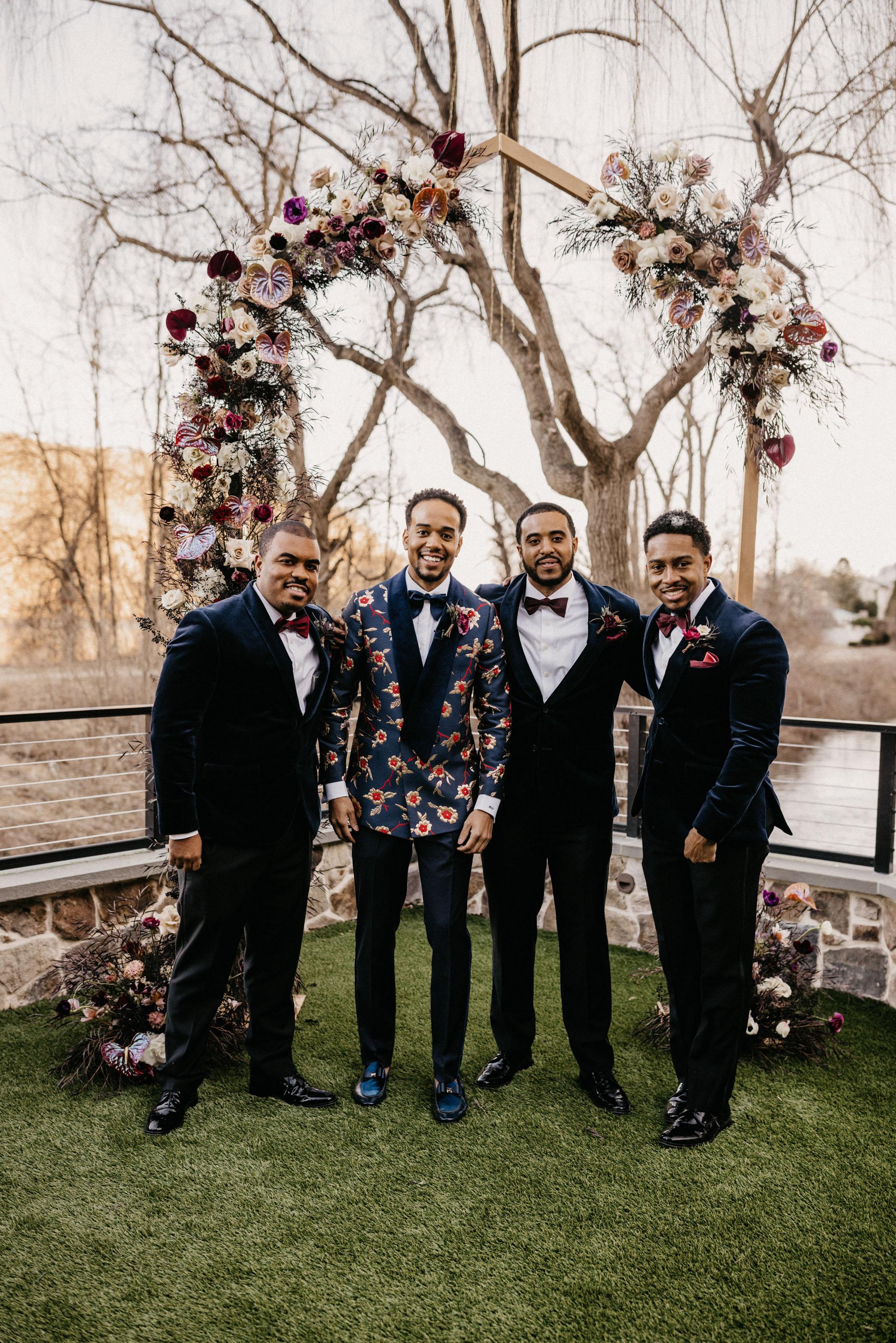 Velvet Suit Wedding Party