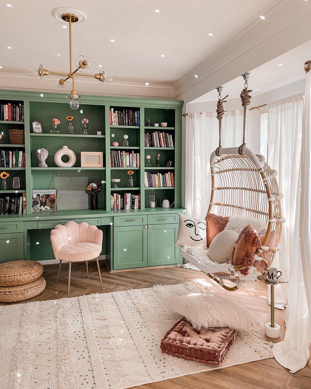 Boho Living Room with Disco Ball