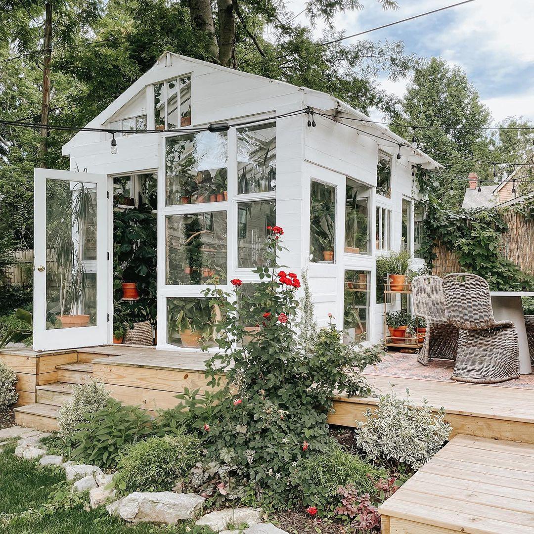 backyard garden white greenhouse