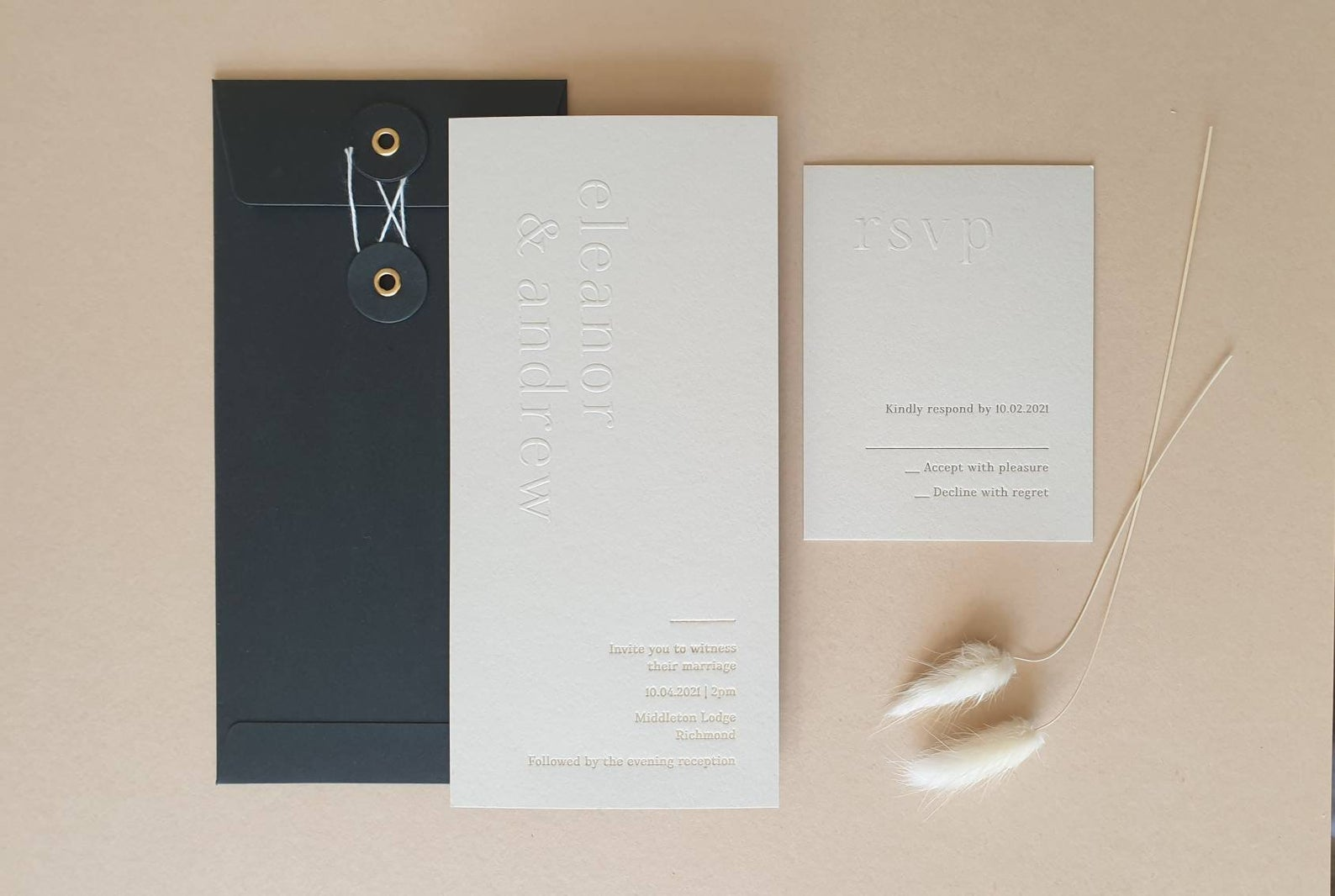 minimalist letterpress wedding invitations