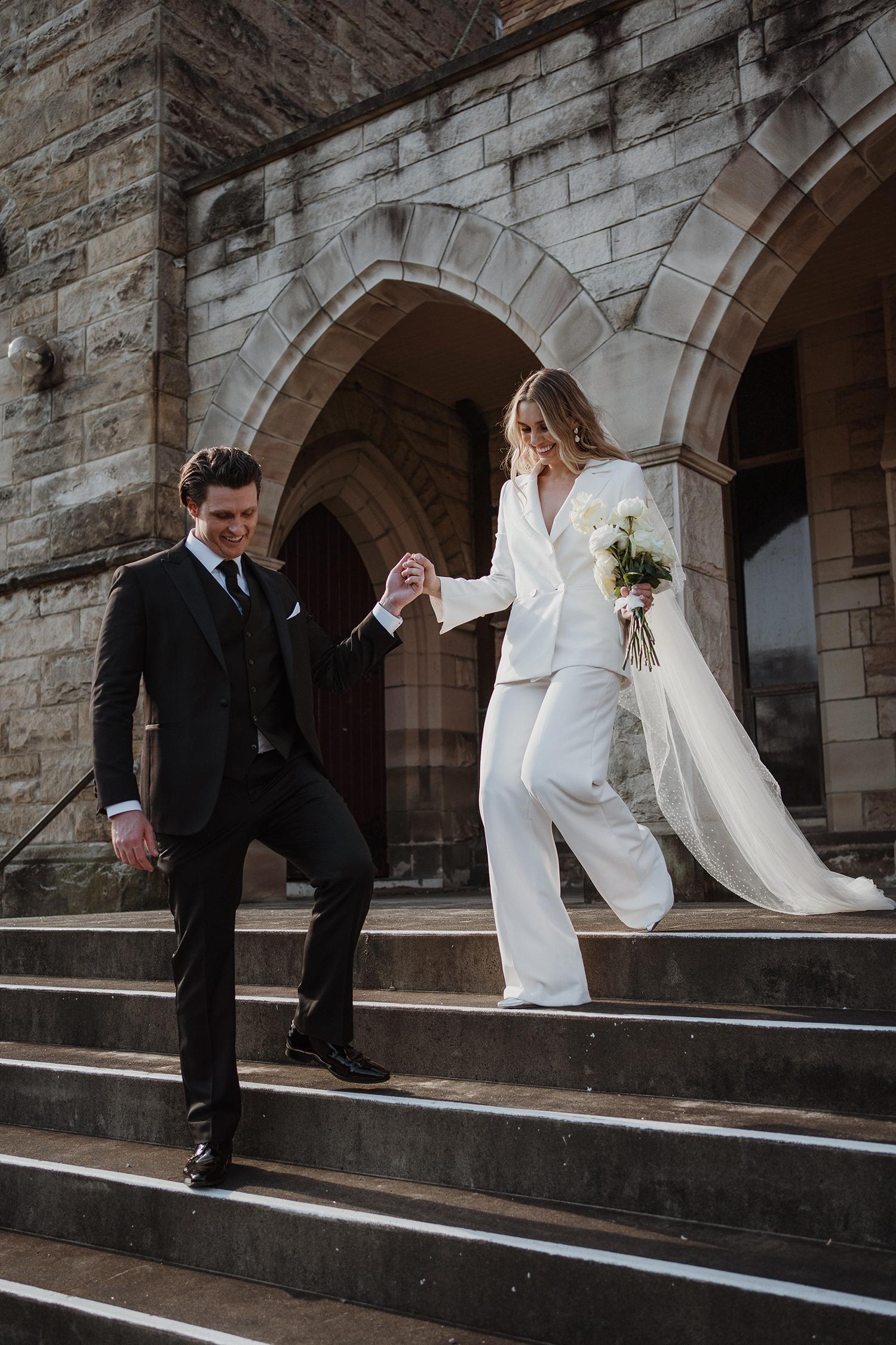 chic bridal suit