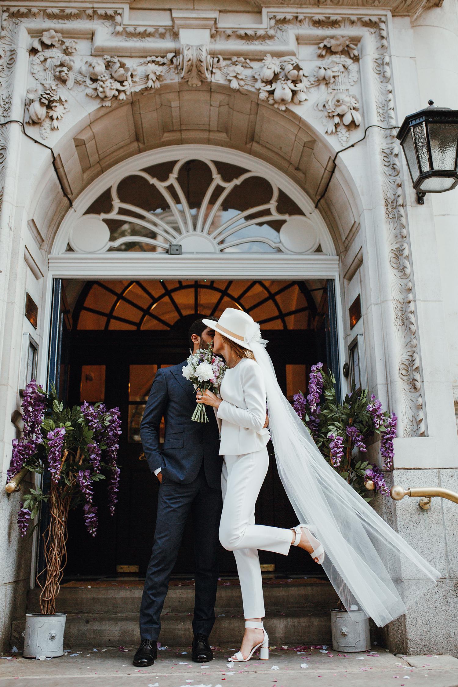 white bridal suit