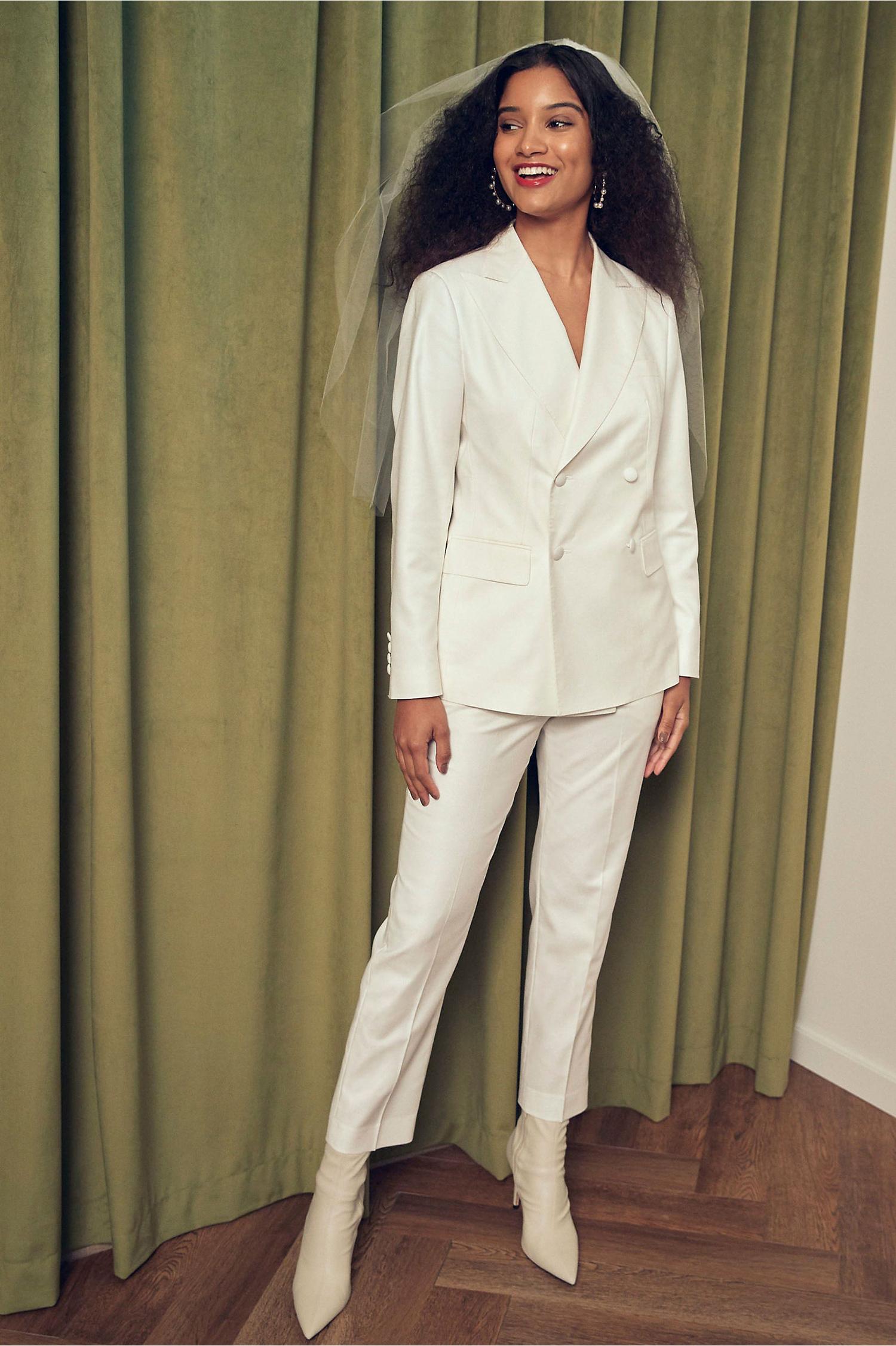 bhldn white bridal suit