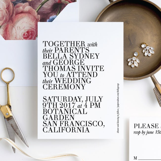 bold type wedding invitations
