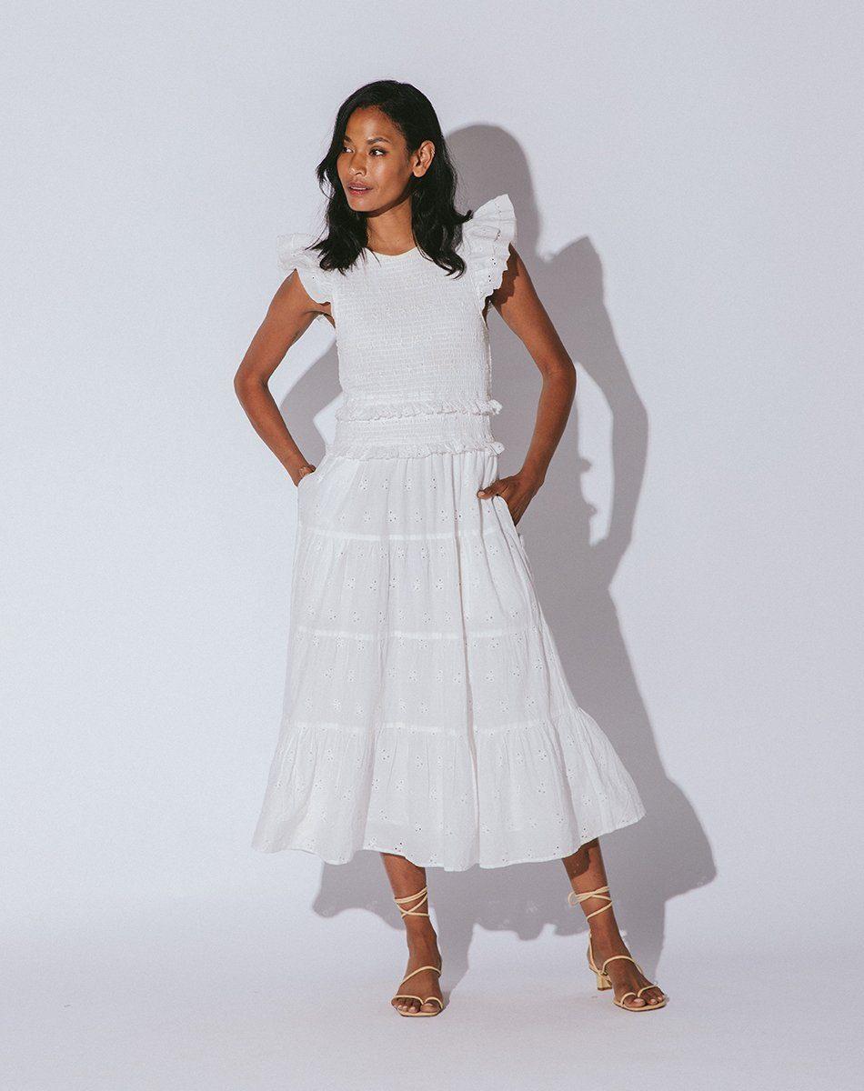 emmy white midi dress from cleobella